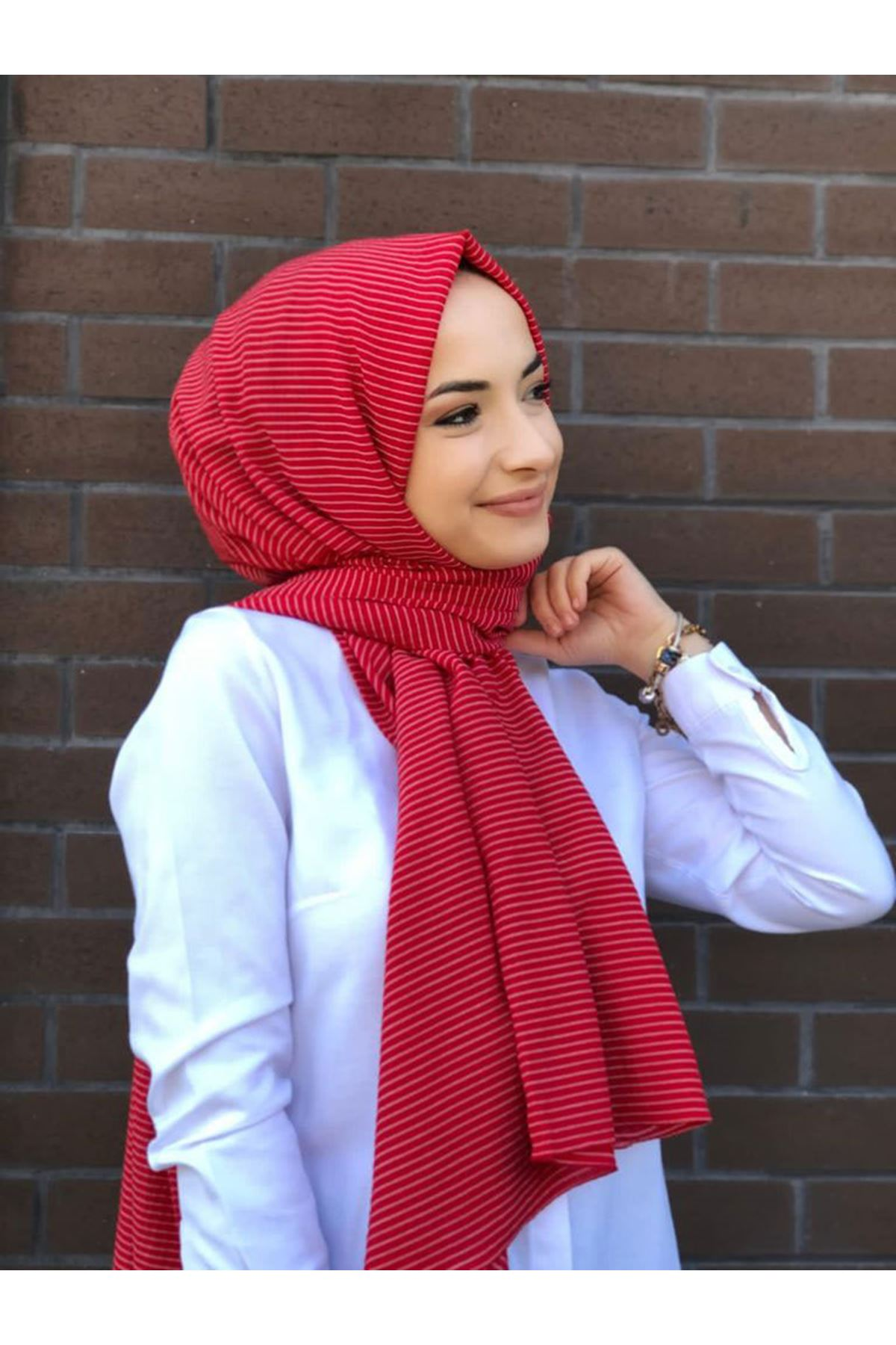 14028 Striped Shawl - Red