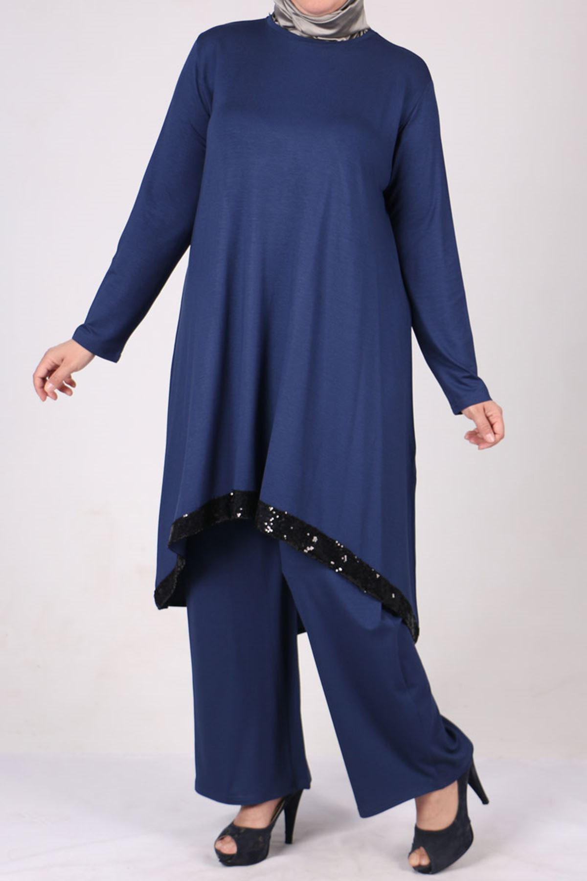 7598 Plus Size Two Piece Set with Tunic and Pants-Navy Blue