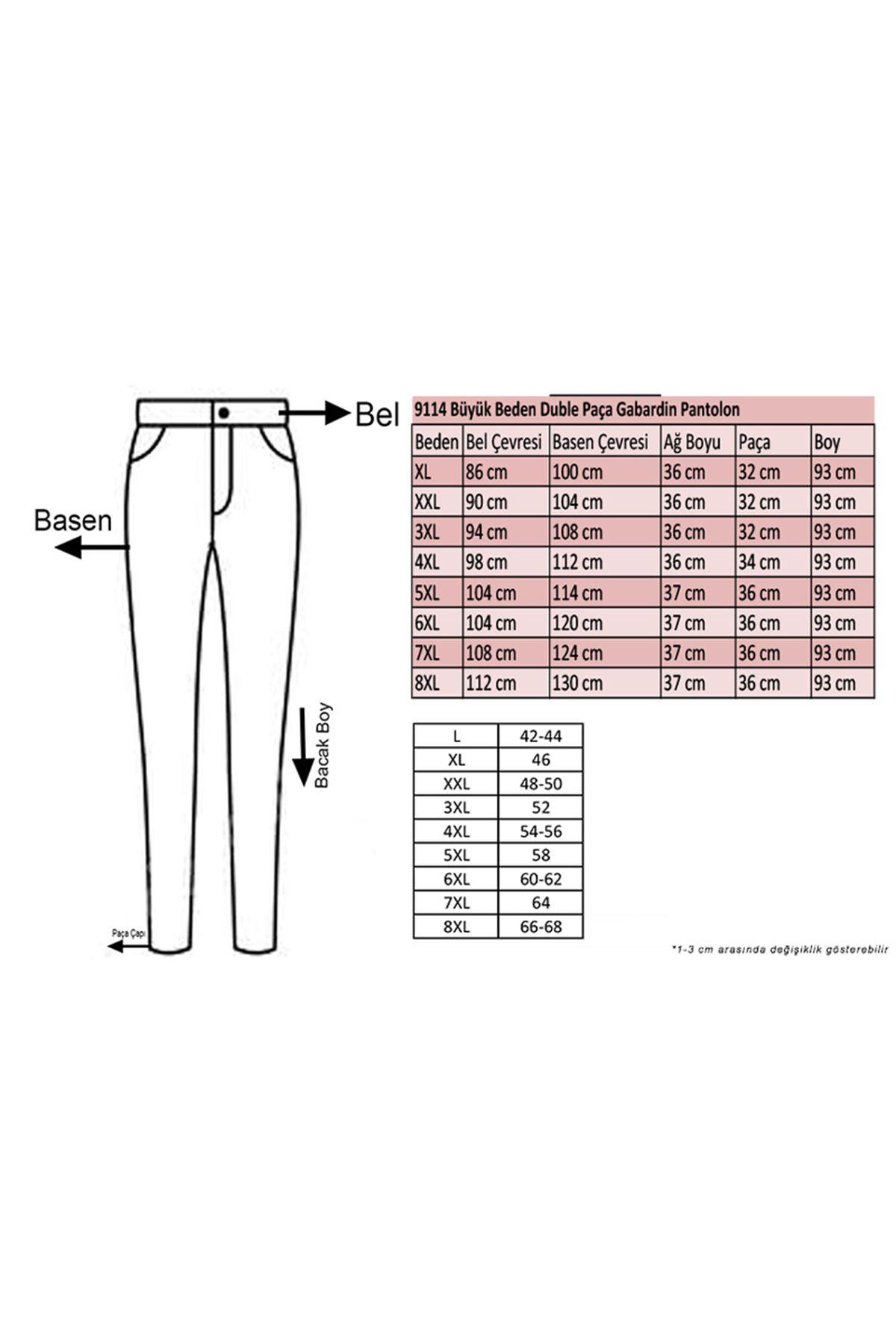9114 Plus Size Double Cuff Pants - Black