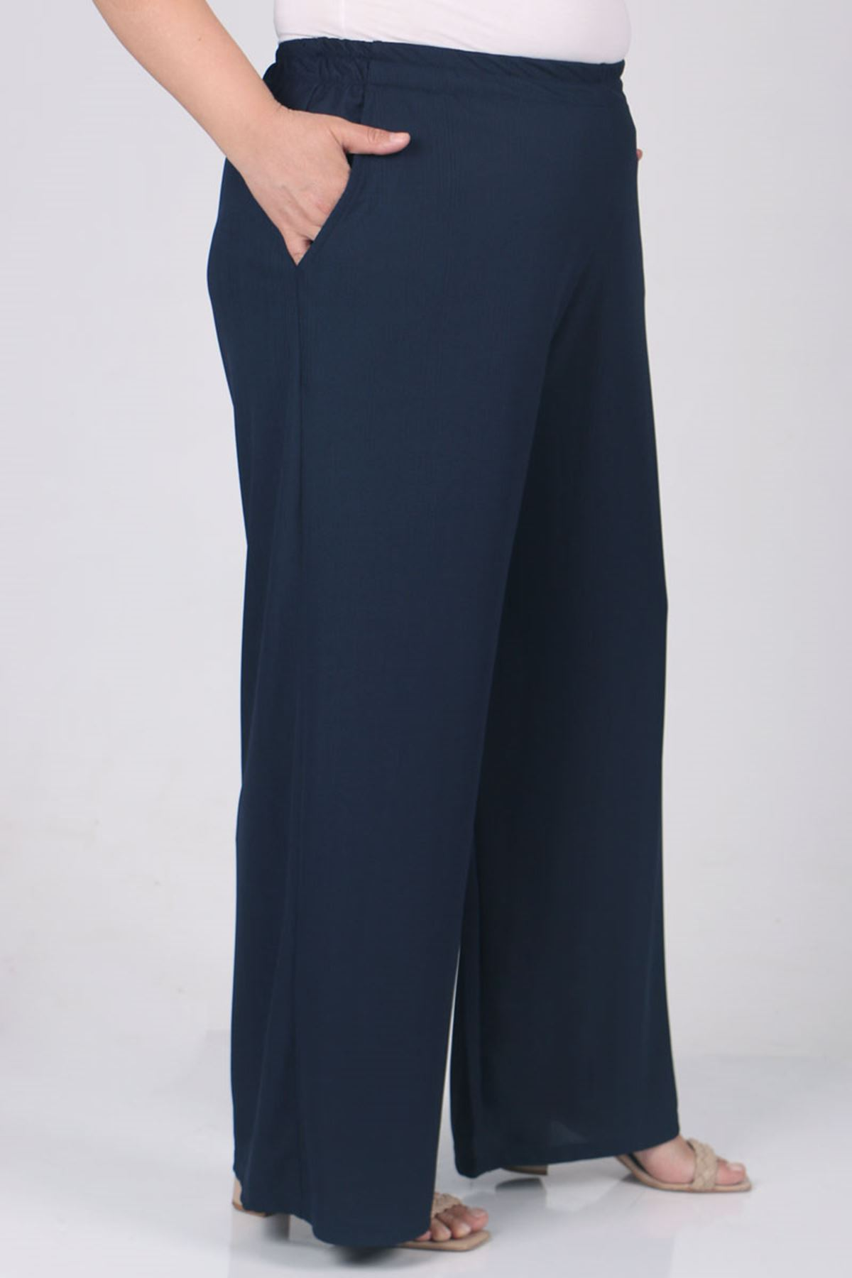9163 Plus Size Elastic Waist Pants - Navy blue