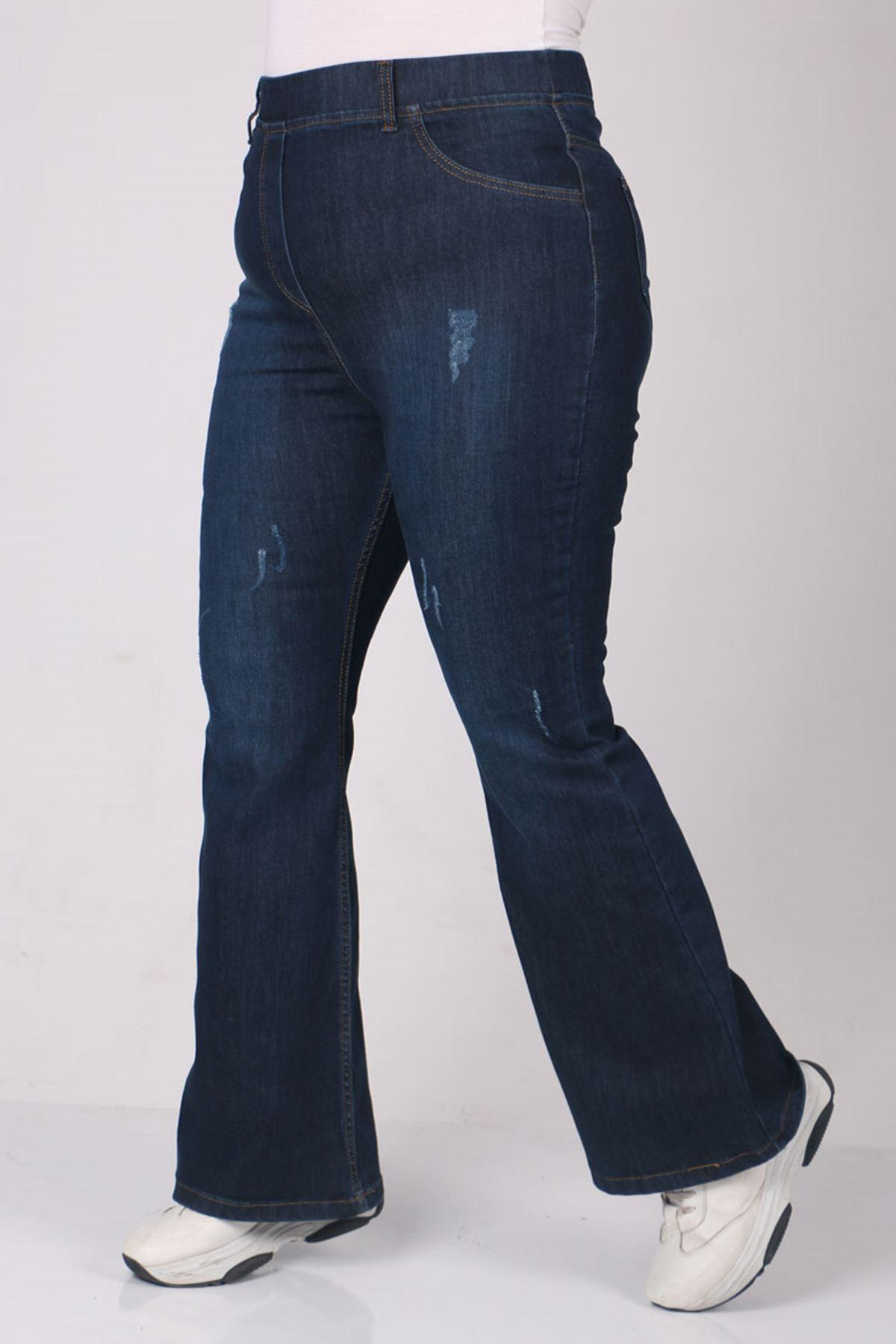9137-3 Büyük Beden Beli Lastikli Tırnaklı İspanyol Paça Kot Pantalon-Koyu Lacivert