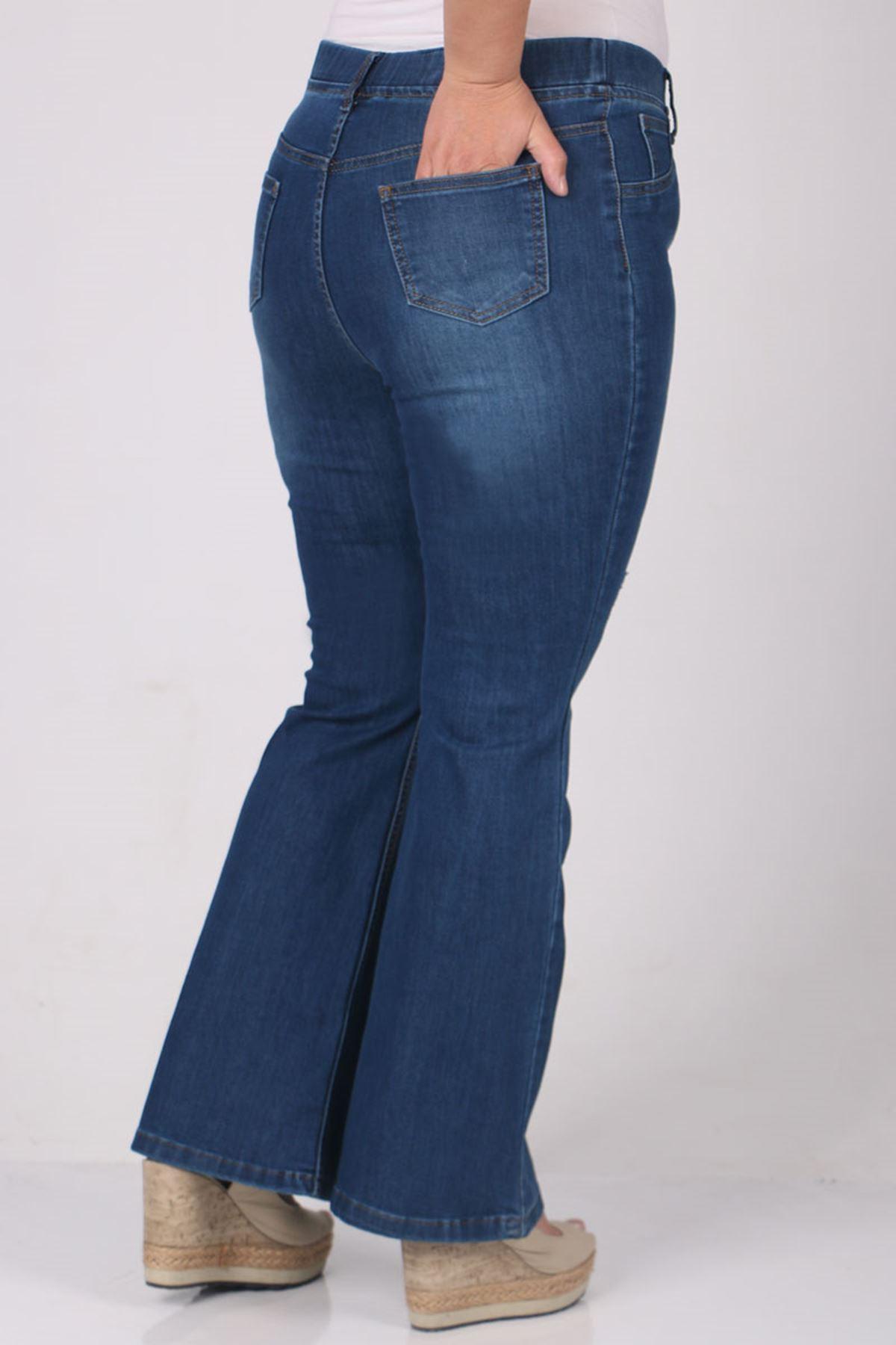 9137-3 Büyük Beden Beli Lastikli Tırnaklı İspanyol Paça Kot Pantalon-Açık Lacivert