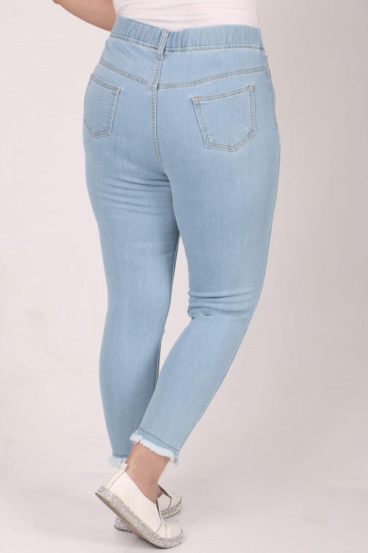 9138  Büyük Beden Beli Lastikli Püsküllü Dar Paça Kot Pantalon- Buz Mavi