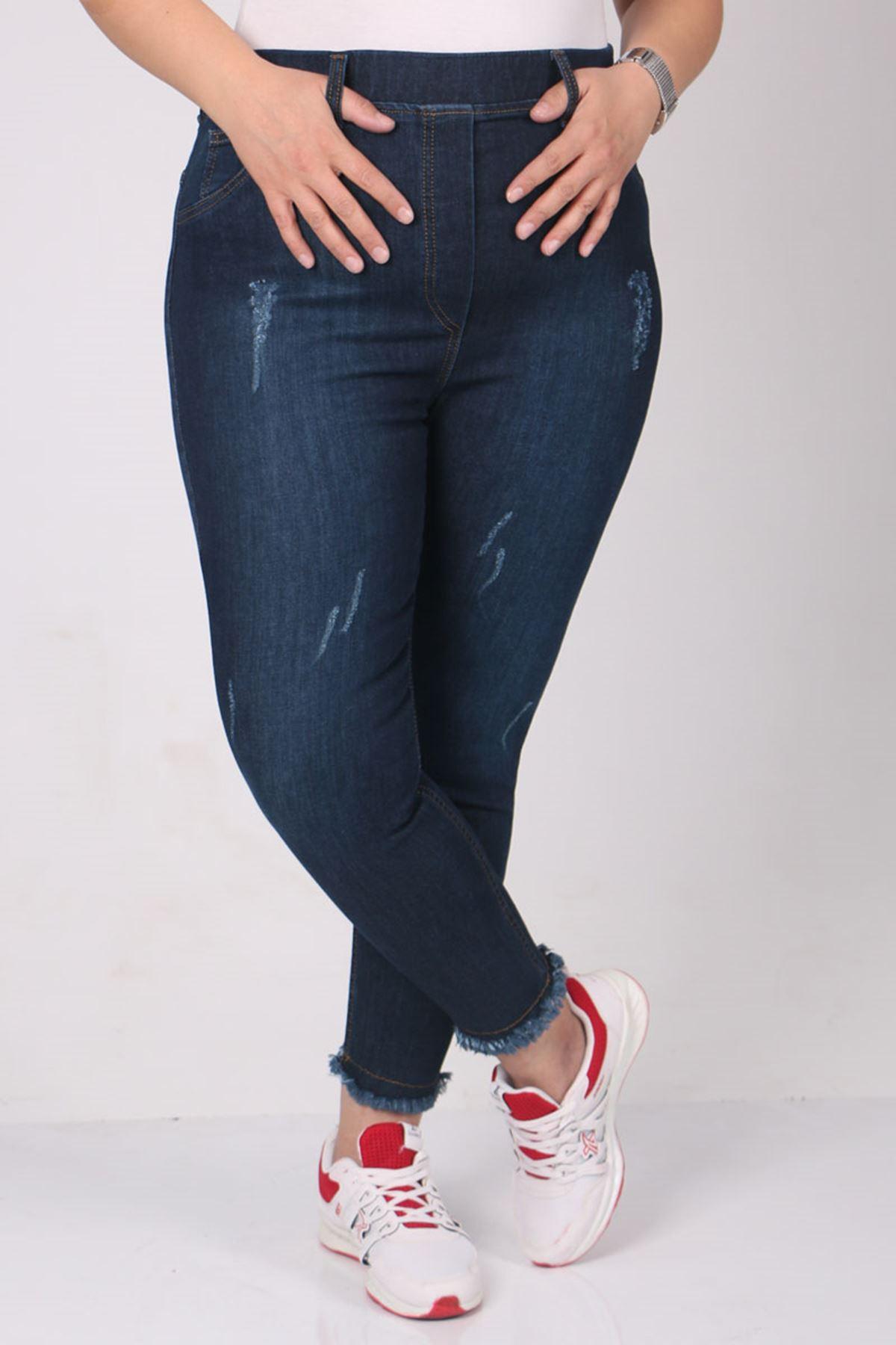 9138-1  Büyük Beden Beli Lastikli Tırnaklı Dar Paça Kot Pantolon-Koyu Lacivert