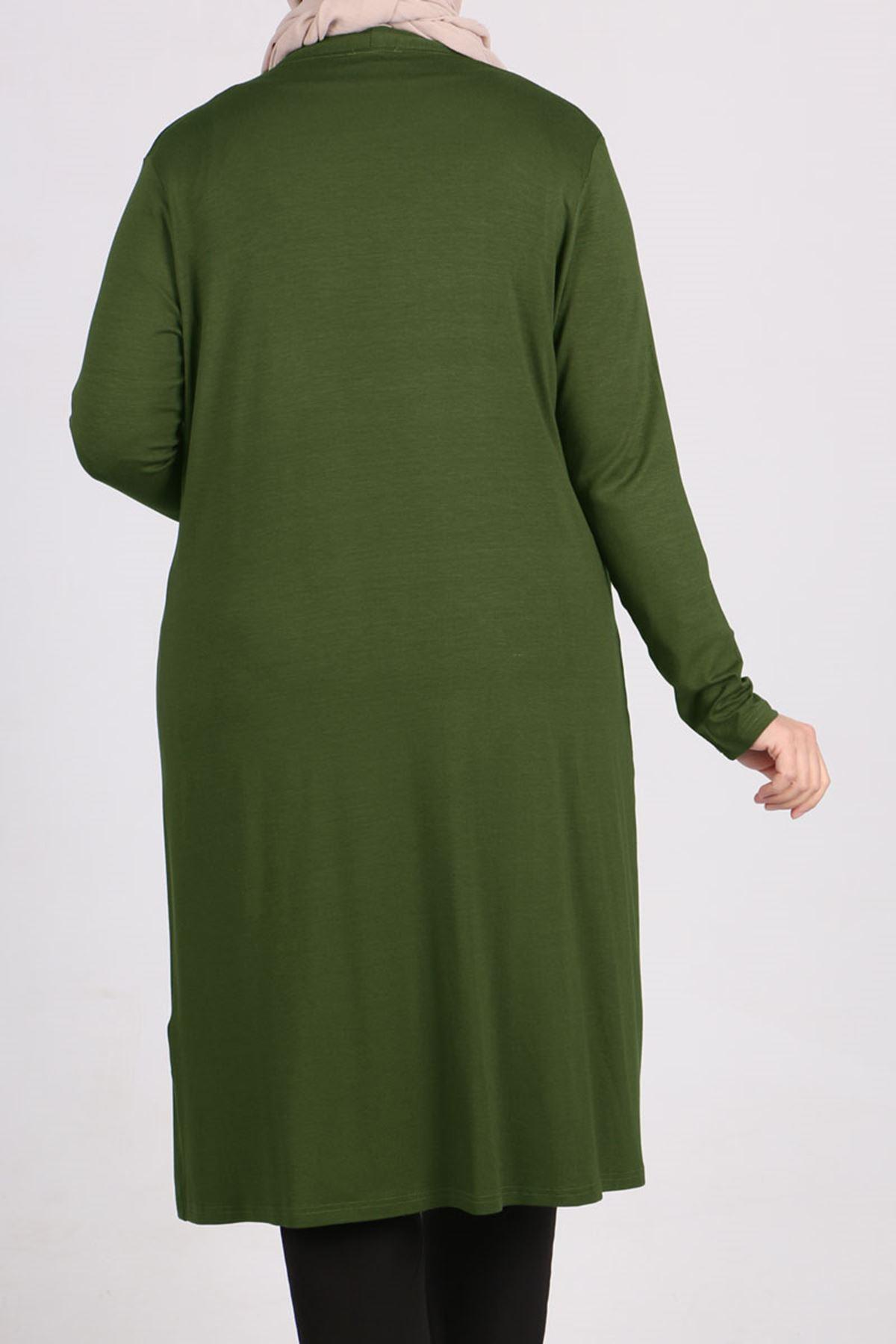 3013 Plus Size Combed Cotton Jacket - Khaki