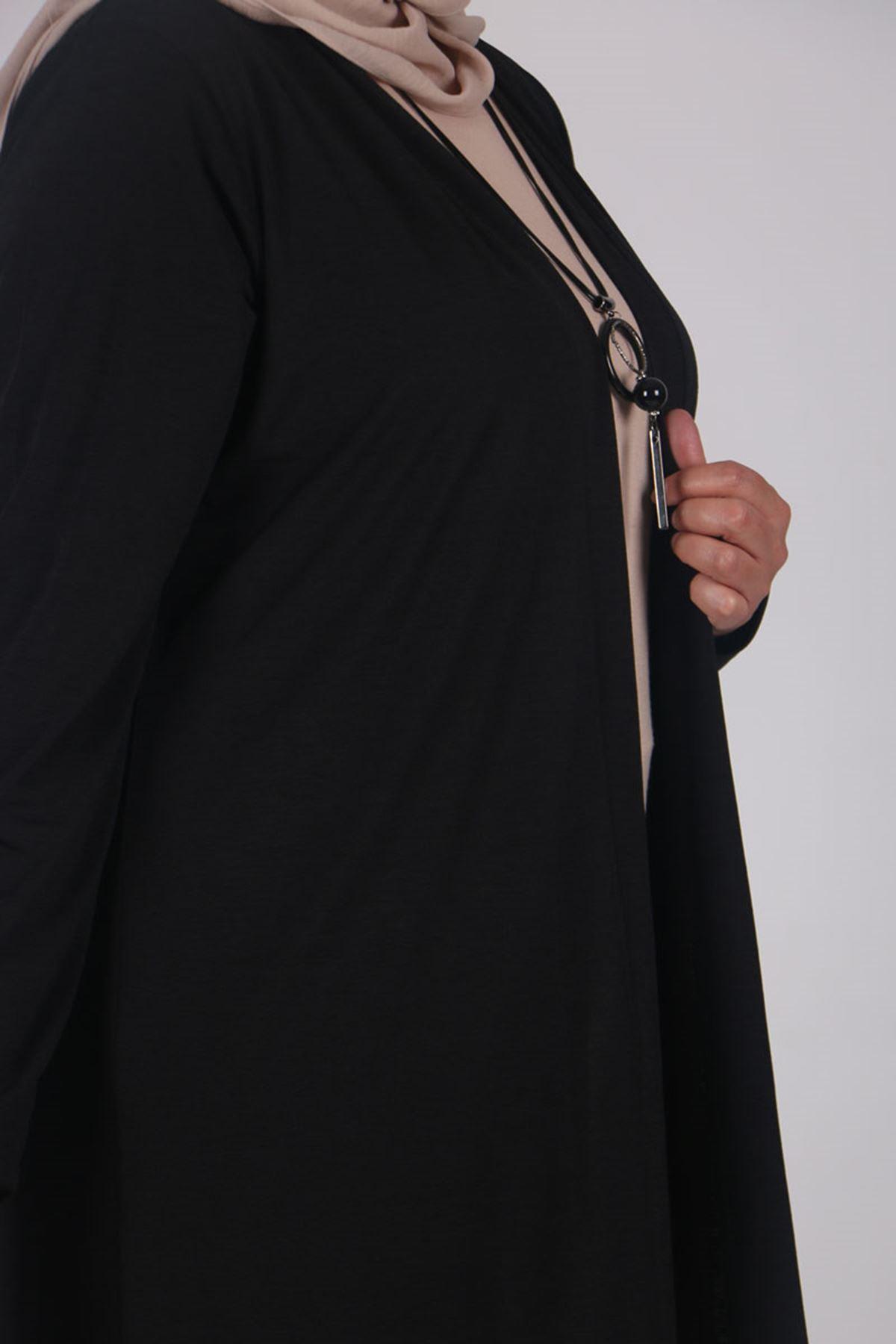 3164 Büyük Beden Mina Ceket - Siyah