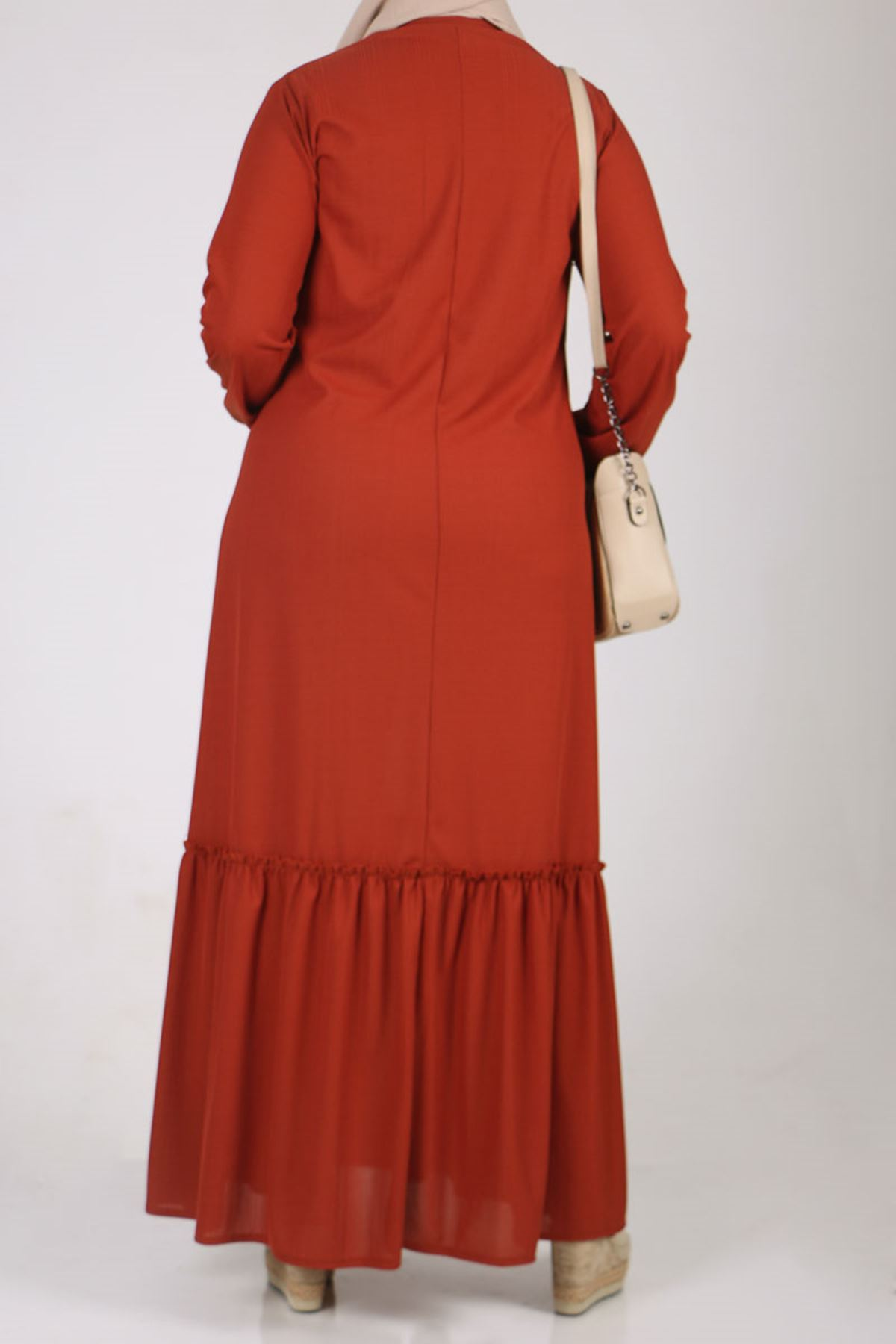 2095 فستان مقاس كبير - قرميدي