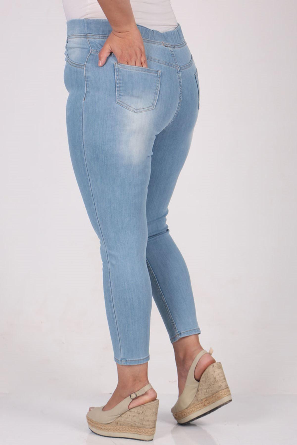 9109-12 Büyük Beden Beli Lastikli Dar Paça Kot Pantalon- Buz Mavi