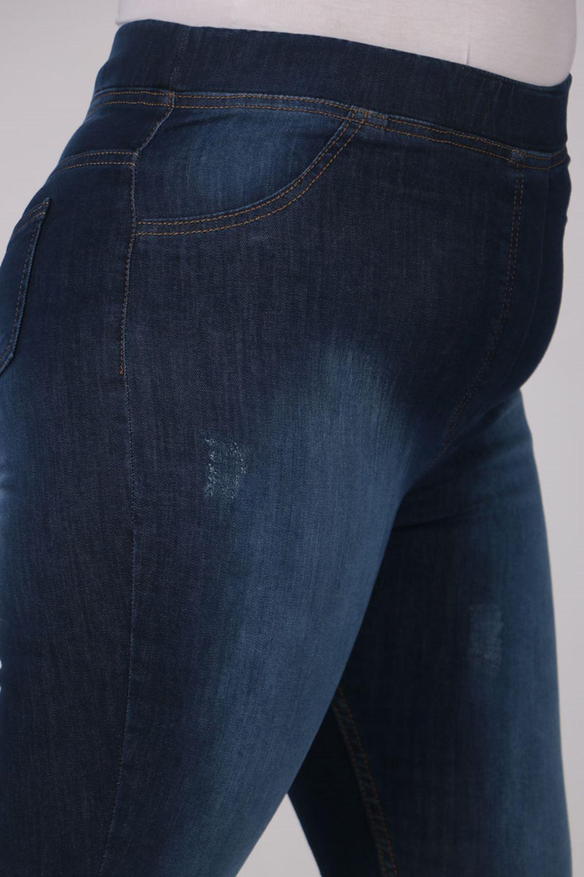 9109-12 Büyük Beden Beli Lastikli Dar Paça Kot Pantalon- Koyu Lacivert
