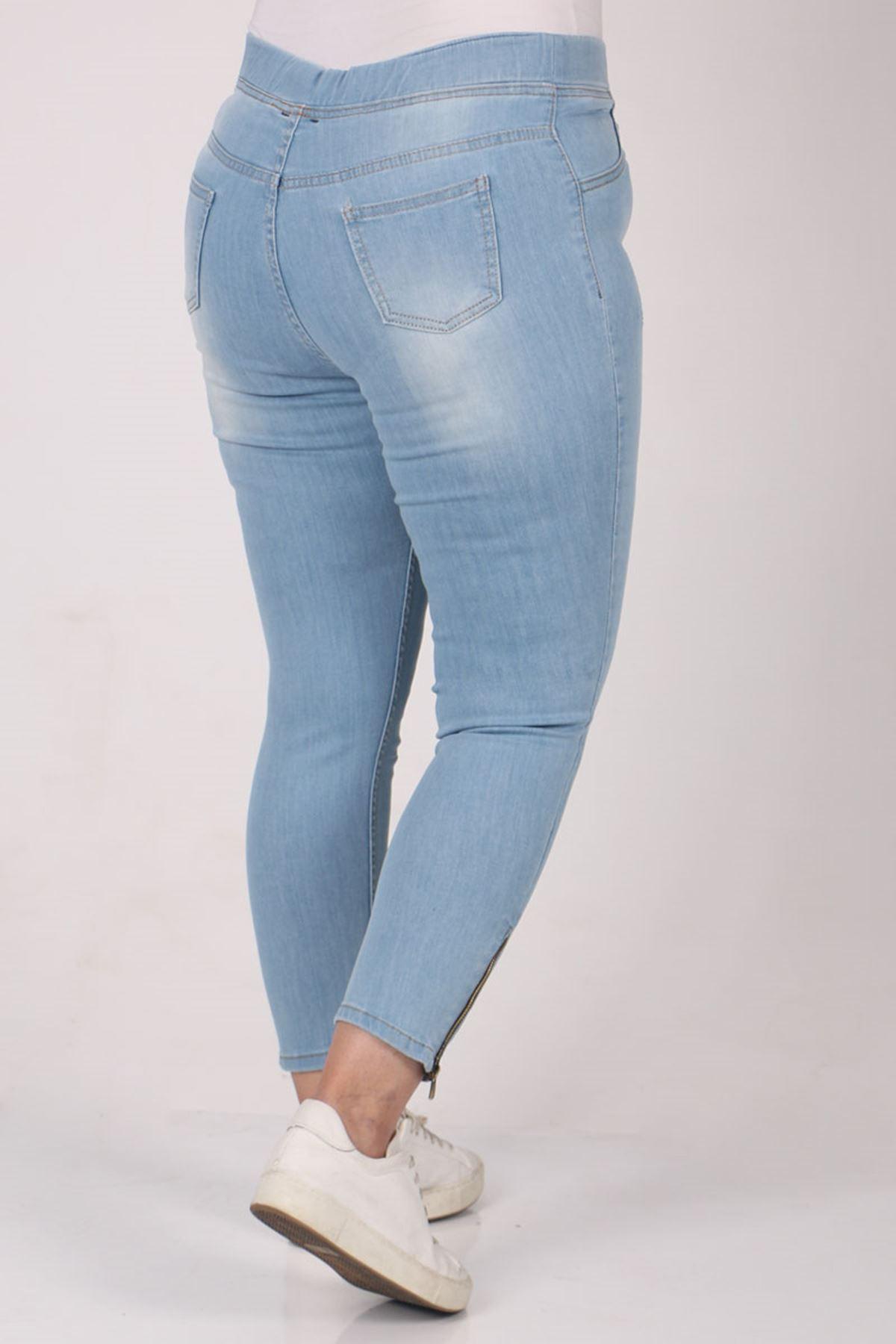 9121-2 Büyük Beden Beli Lastikli Dar Paça Kot Pantolon - Buz Mavi