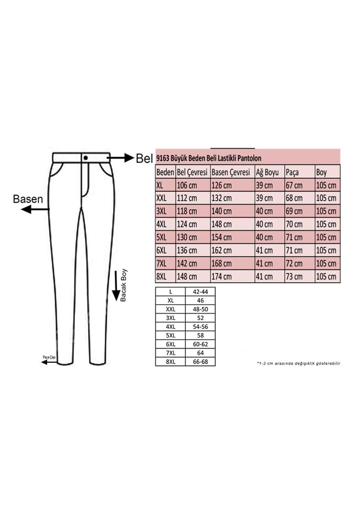 9163 Plus Size Elastic Waist Pants - Indigo