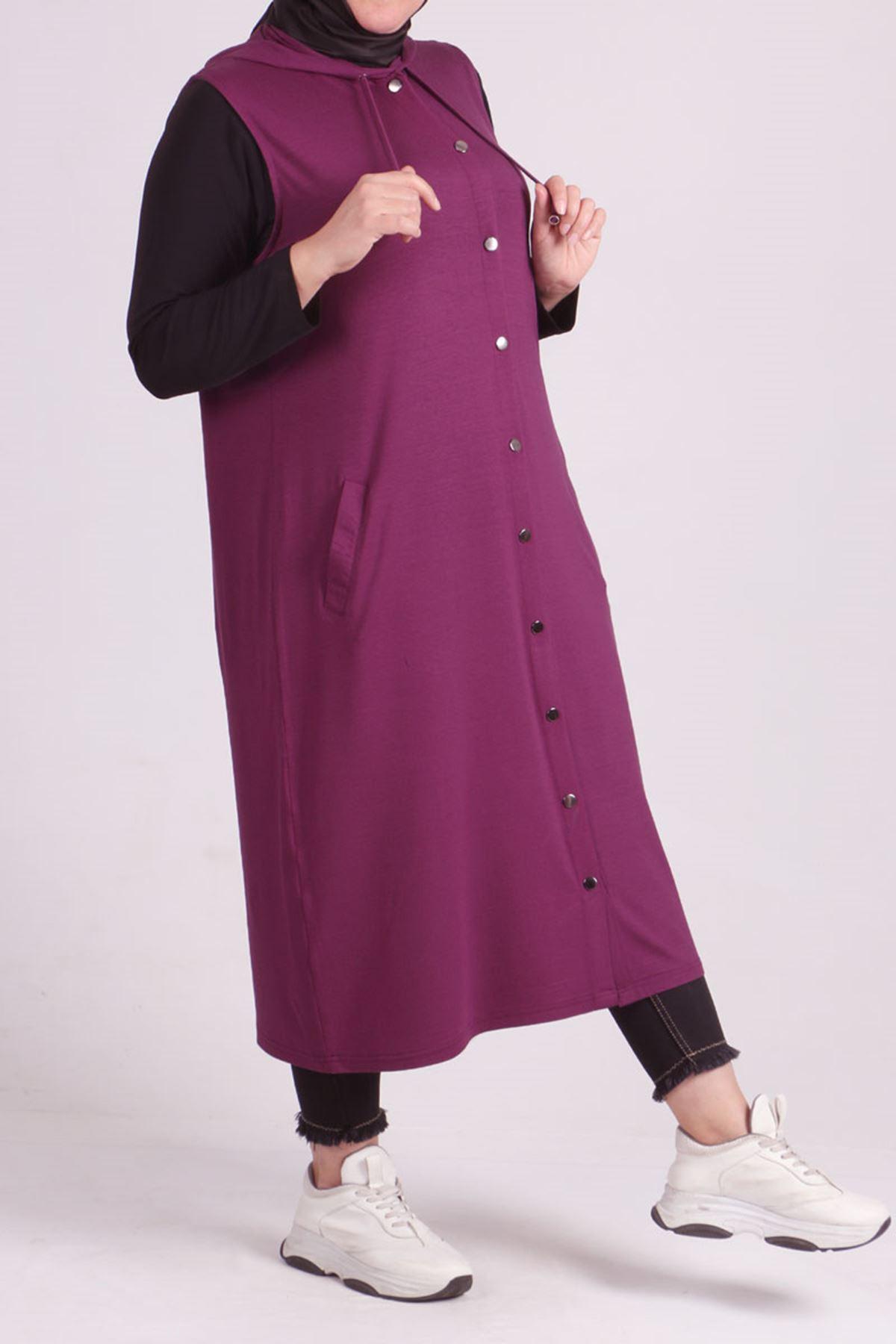 4051 Plus Size Snap Fastener Vest - Lilac