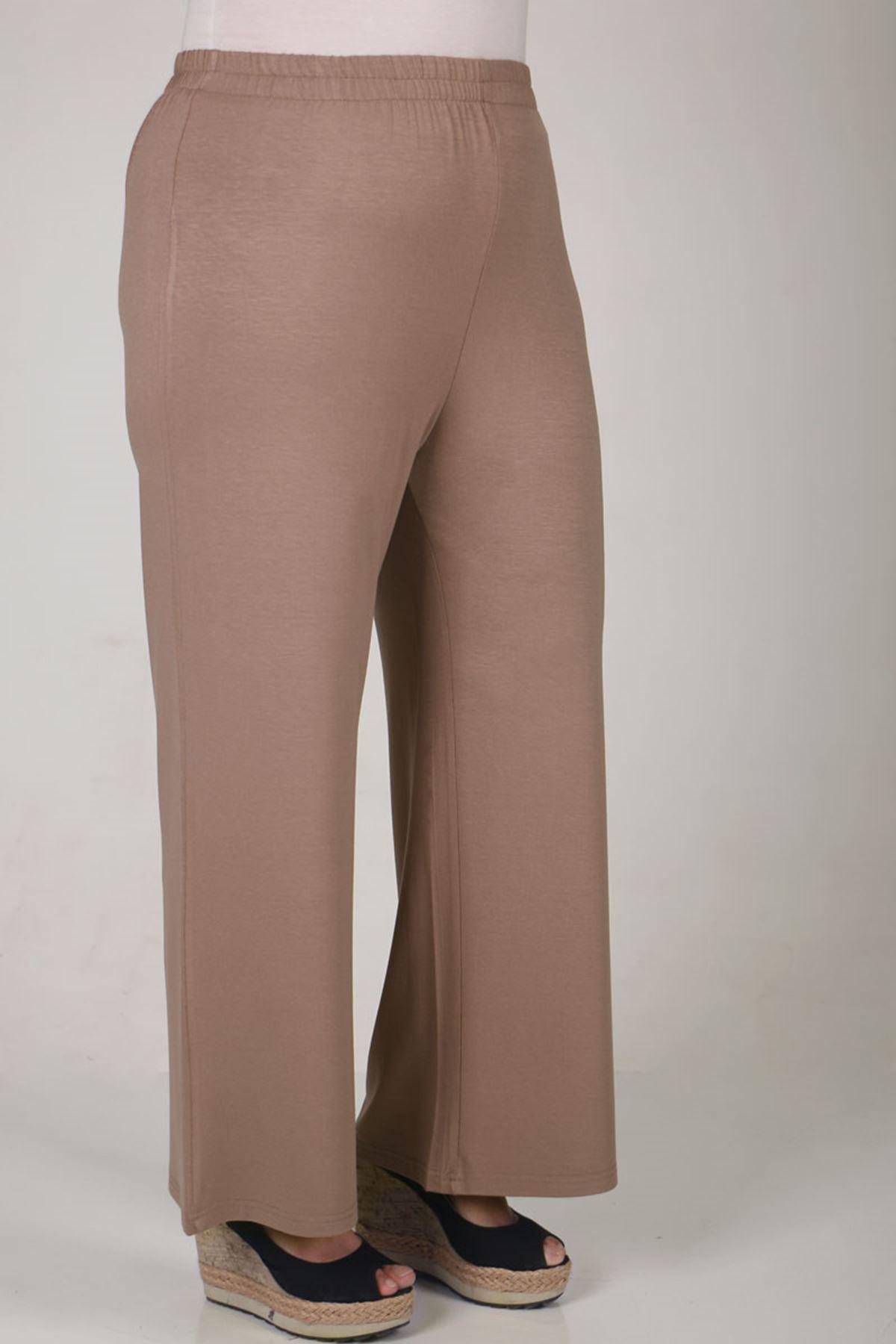 7526 Büyük Beden Penye Pantolonlu Takım-Vizon