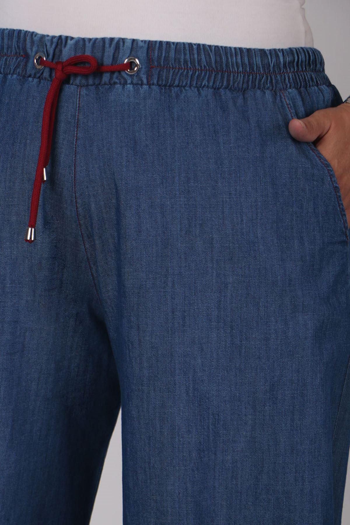 9159 بنطلون جينز واسع الساق و مقاس كبير - أحمر كلاريت - أزرق