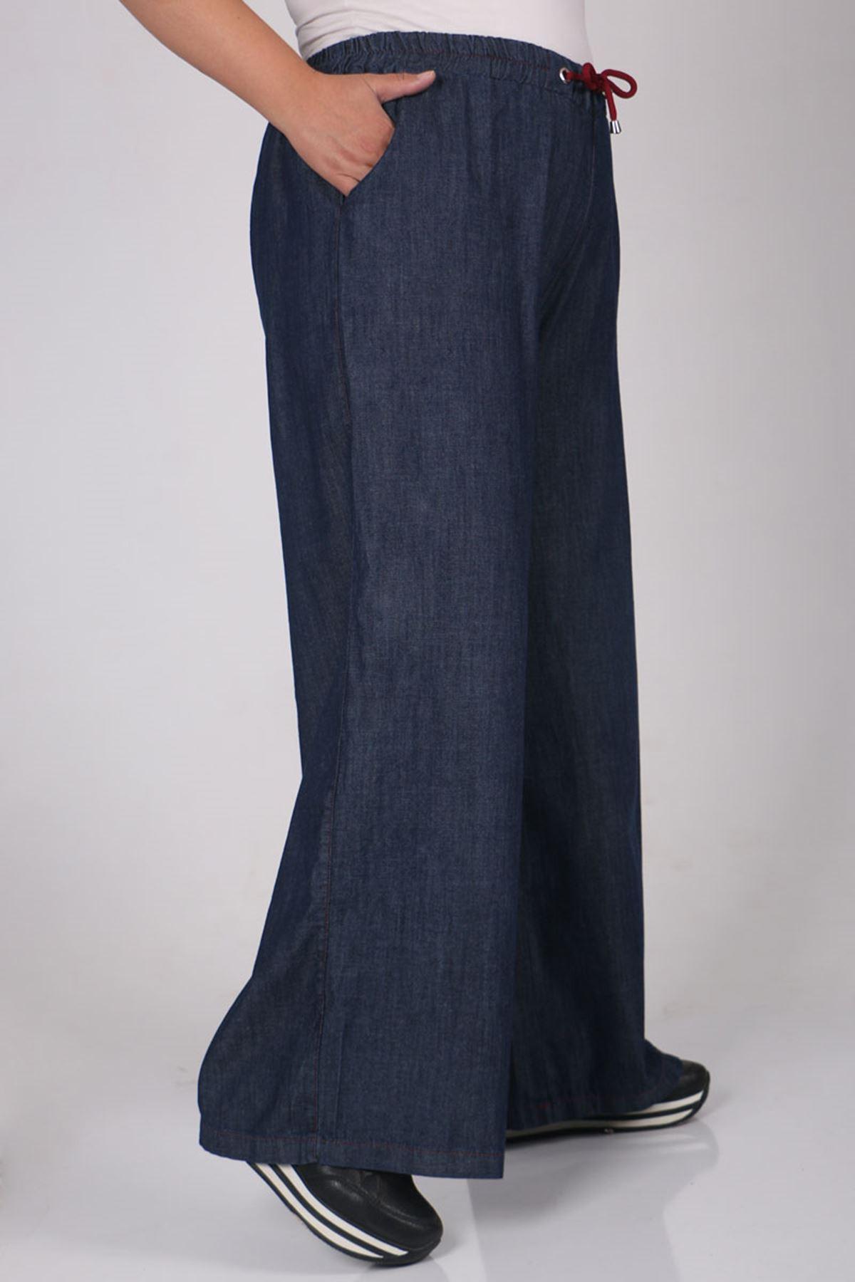 9159 بنطلون جينز واسع الساق و مقاس كبير - أحمر كلاريت - كحلي