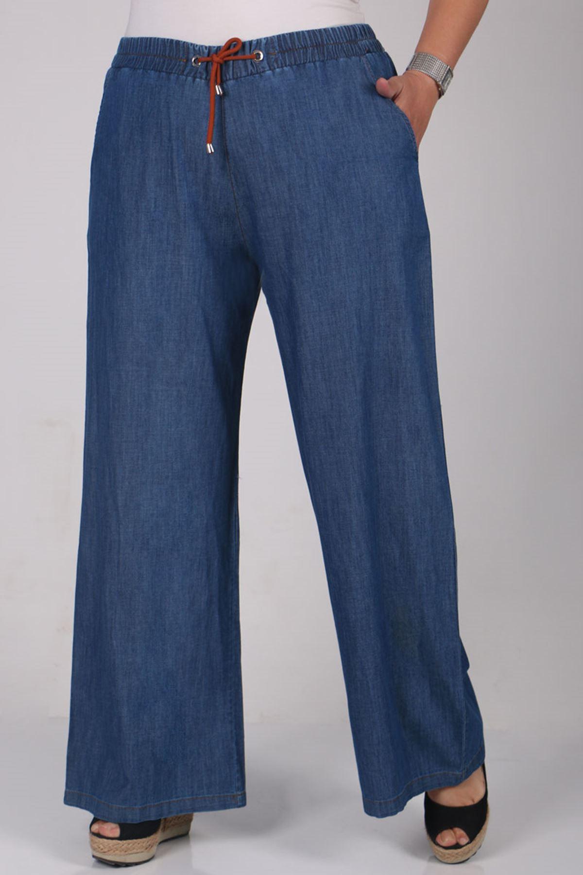 9159 بنطلون جينز واسع الساق و مقاس كبير - قرميدي - أزرق