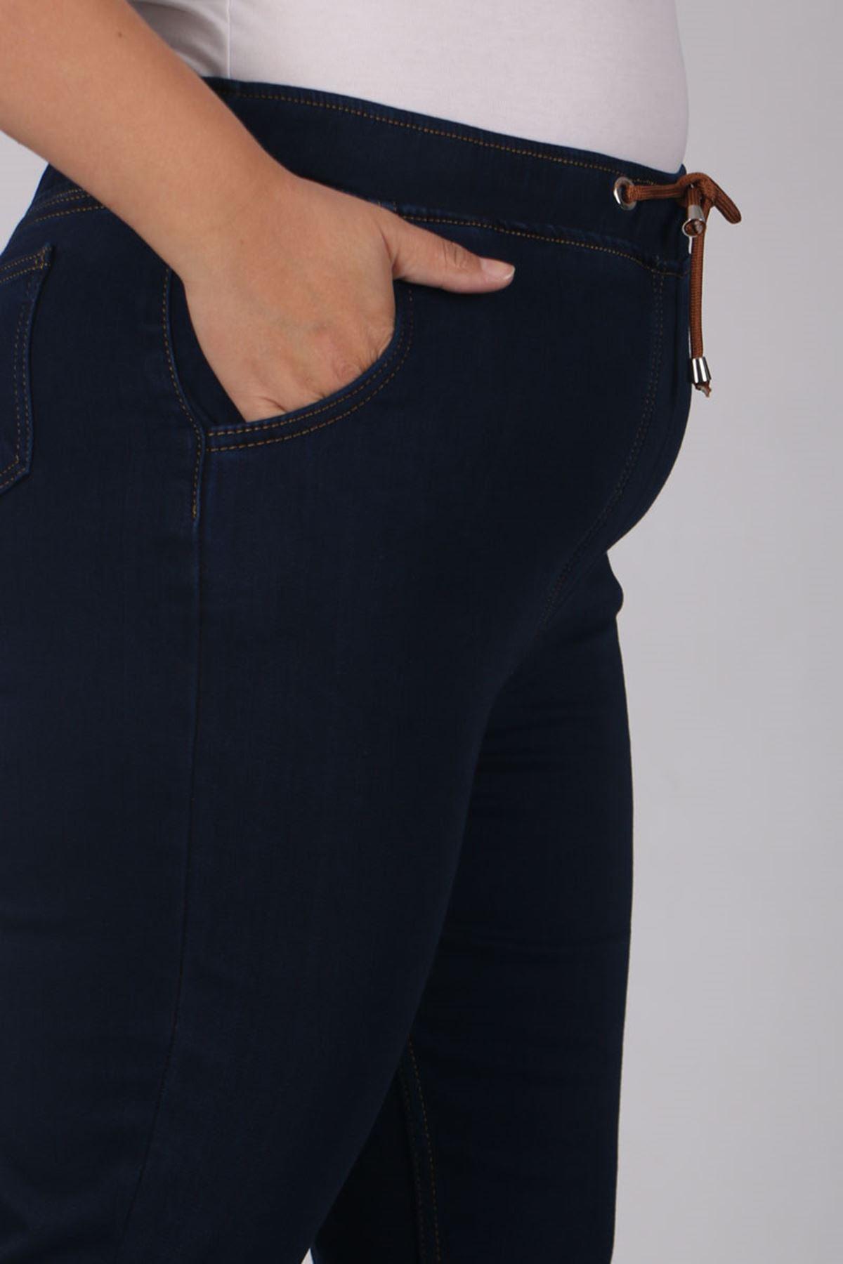 9136 بنطلون جينز مرن الخصر و مقاس كبير- كحلي داكن- أزرق ملكي