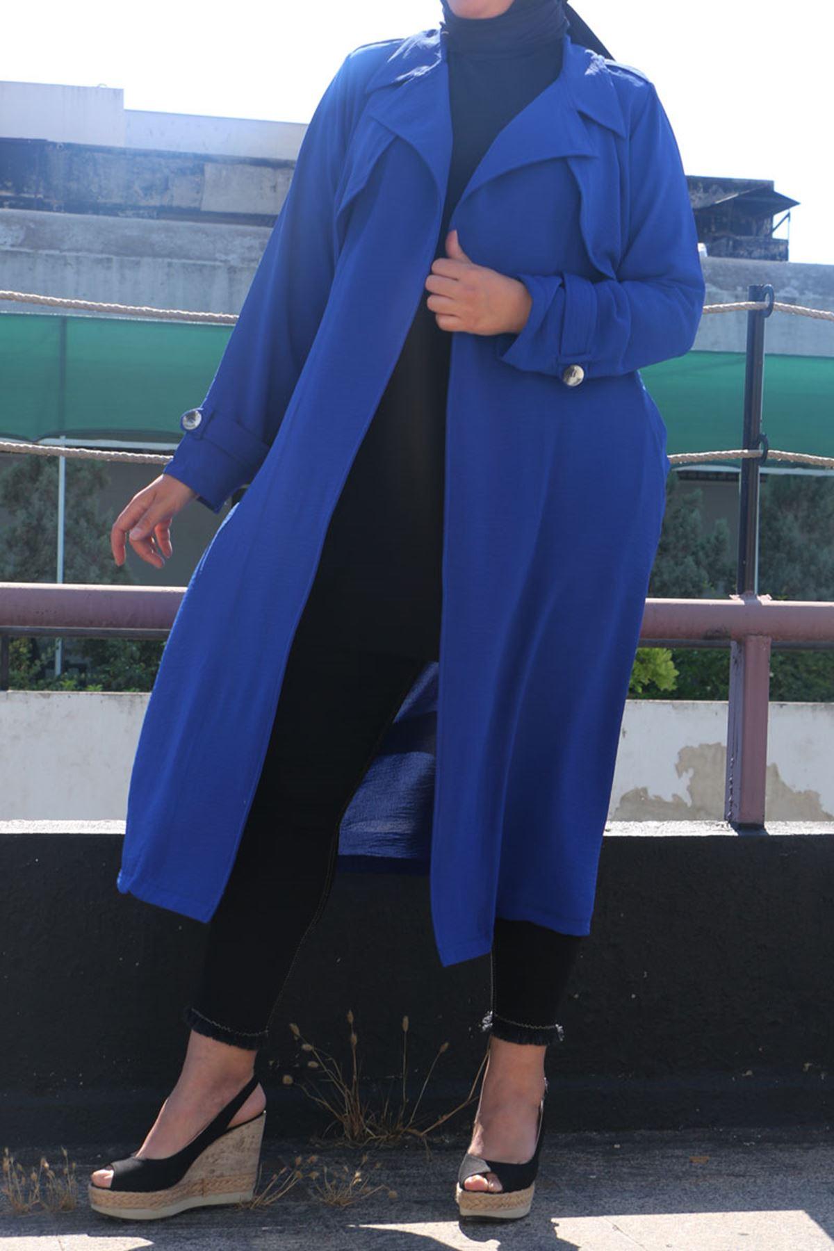 3072 معاطف ترينش مقاس كبير -  أزرق ملكي