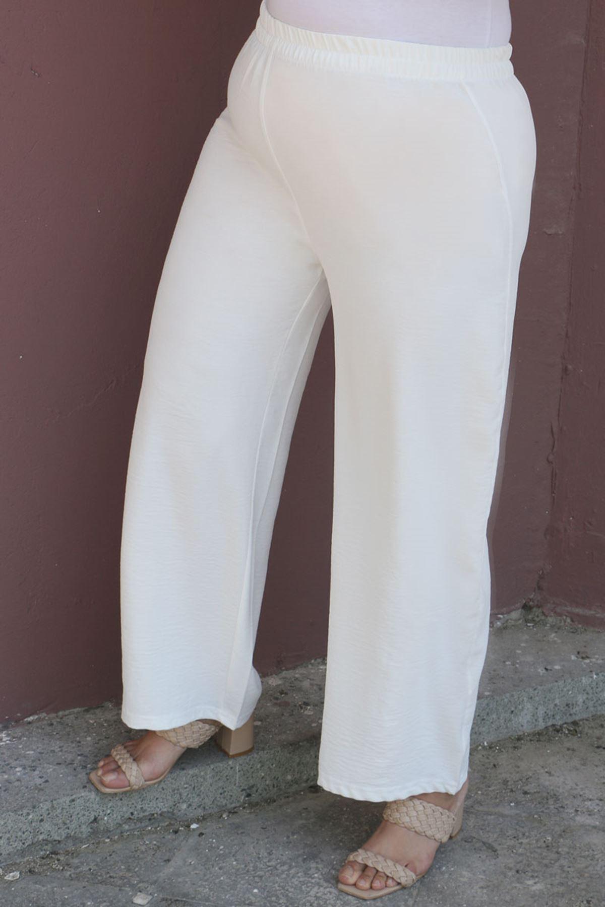 7706 Büyük Beden Mikro Krep Pantolonlu Takım - Lacivert
