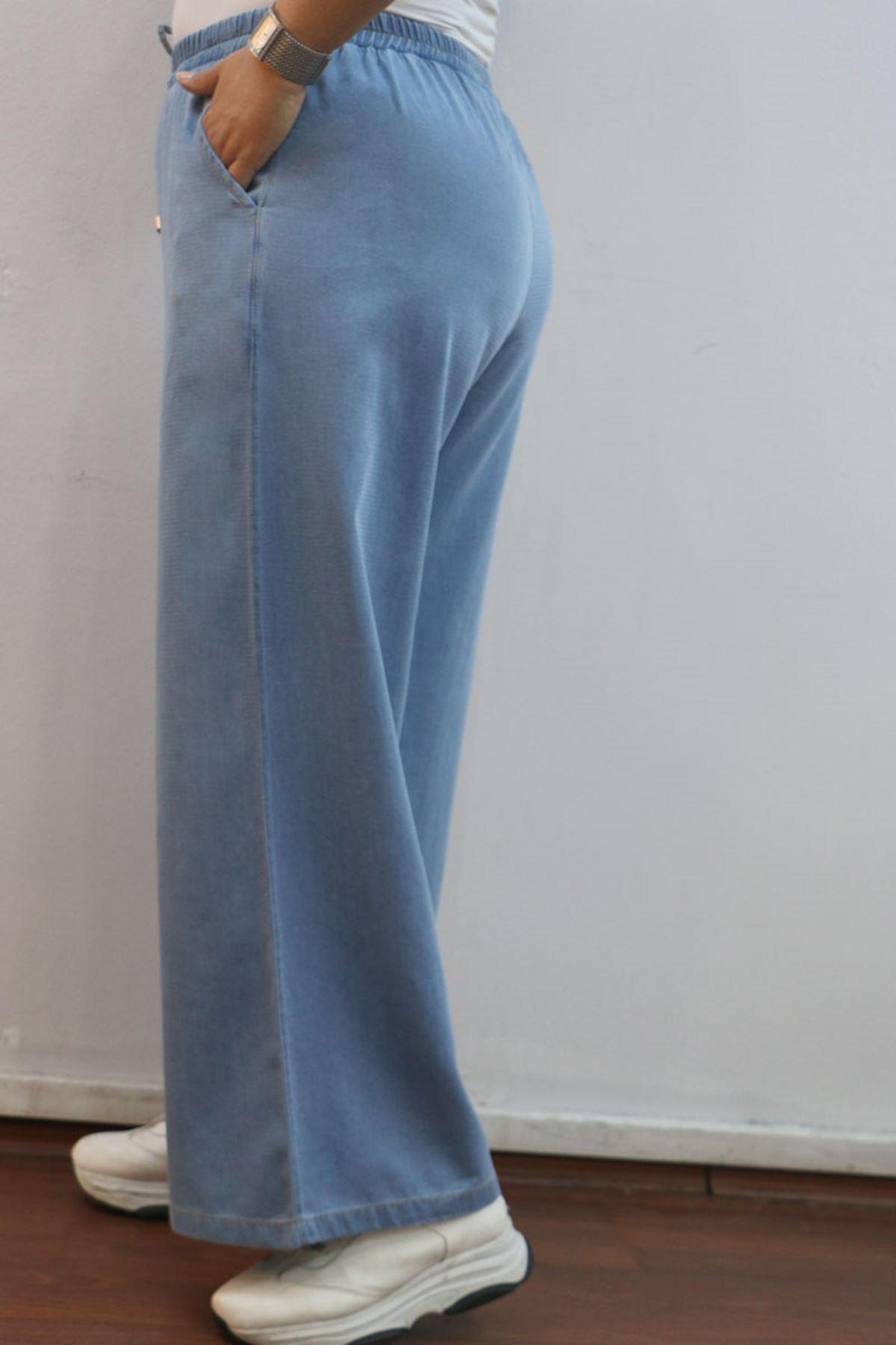 9155-1 بنطلون جينز واسع الساق مقاس كبير - أزرق فاتح