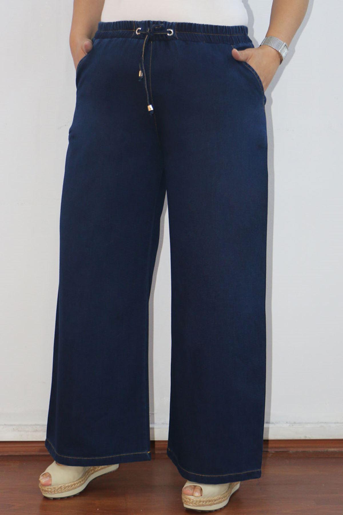 9155-1 بنطلون جينز واسع الساق مقاس كبير - كحلي داكن