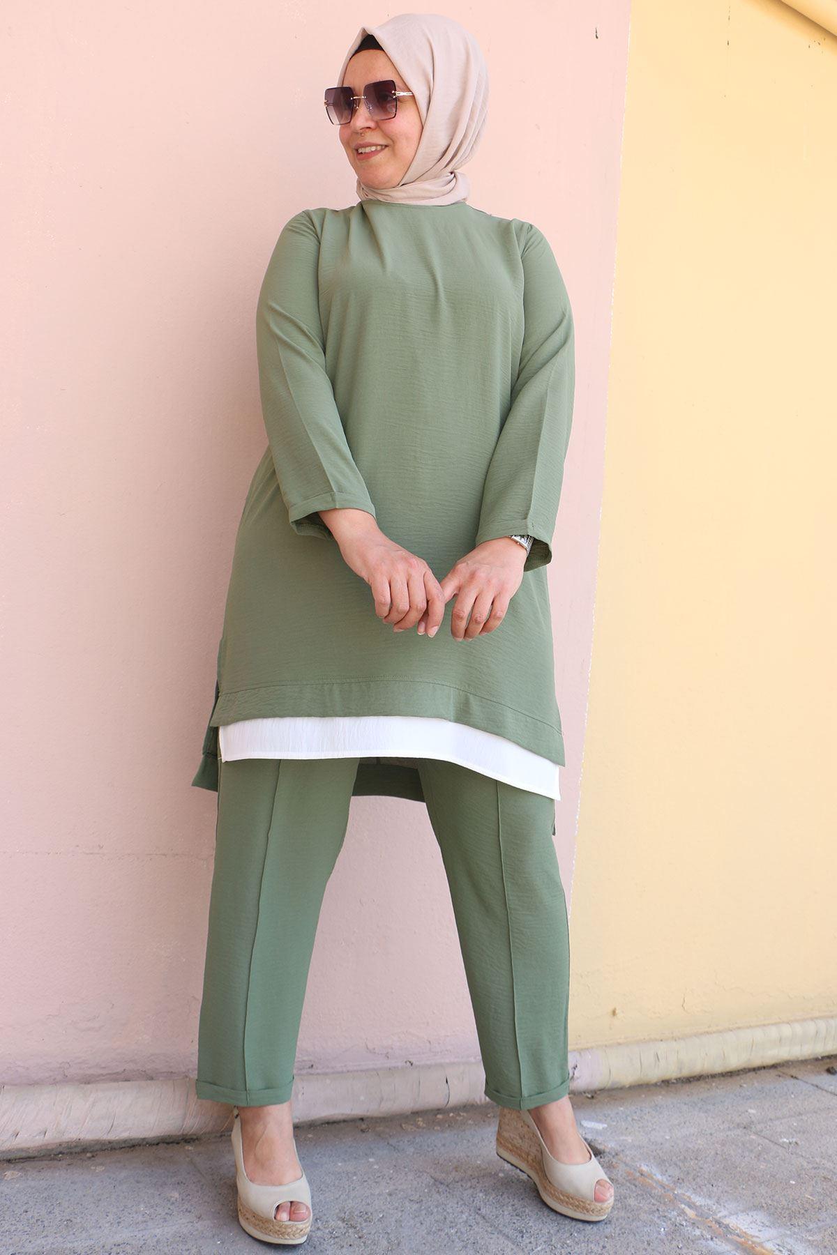 7704  Büyük Beden Airobin Garnili Pantolonlu Takım - Haki