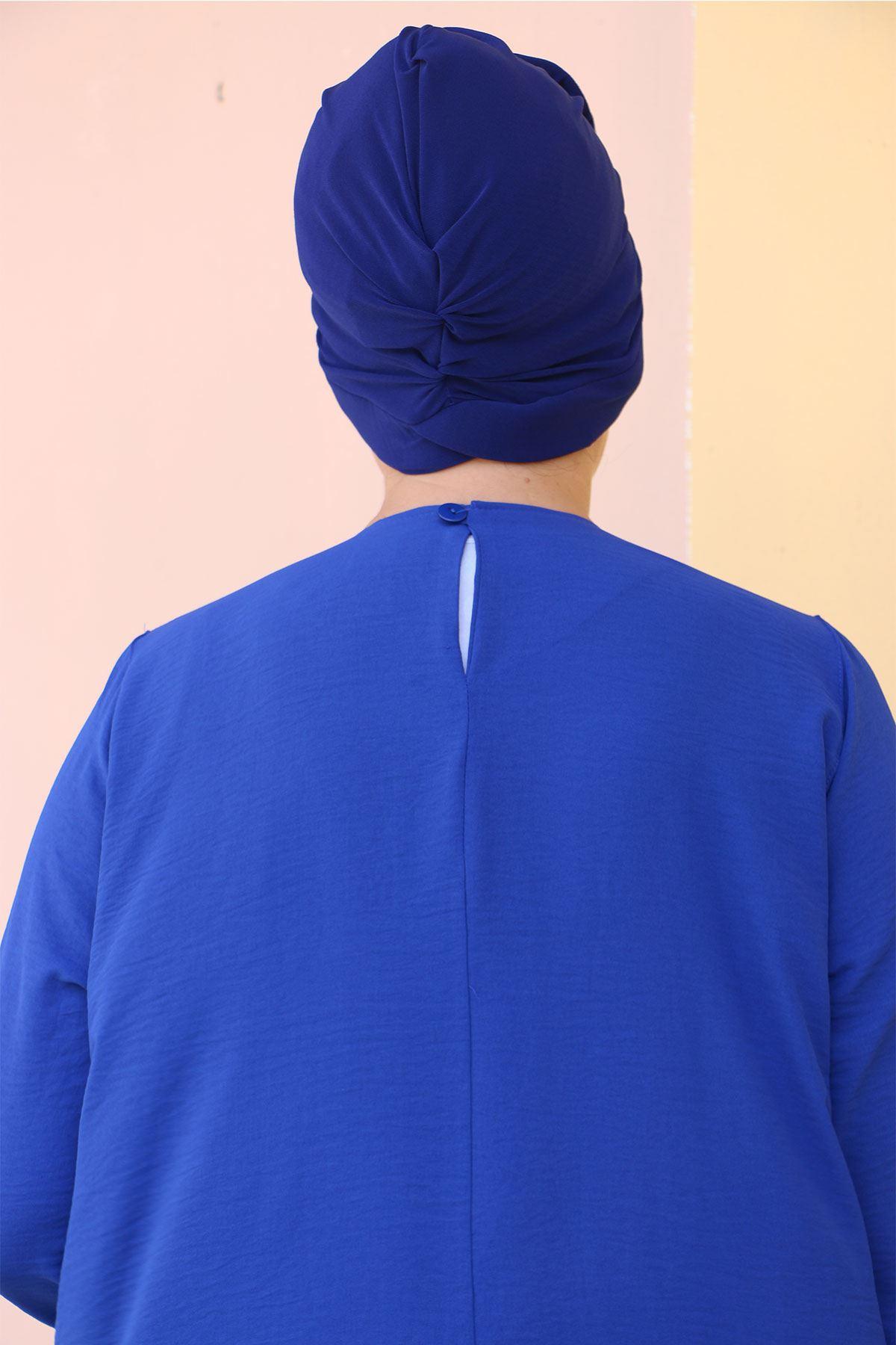 7704 طقم  تونيك و بنطلون مقاس كبير  - أزرق ملكي