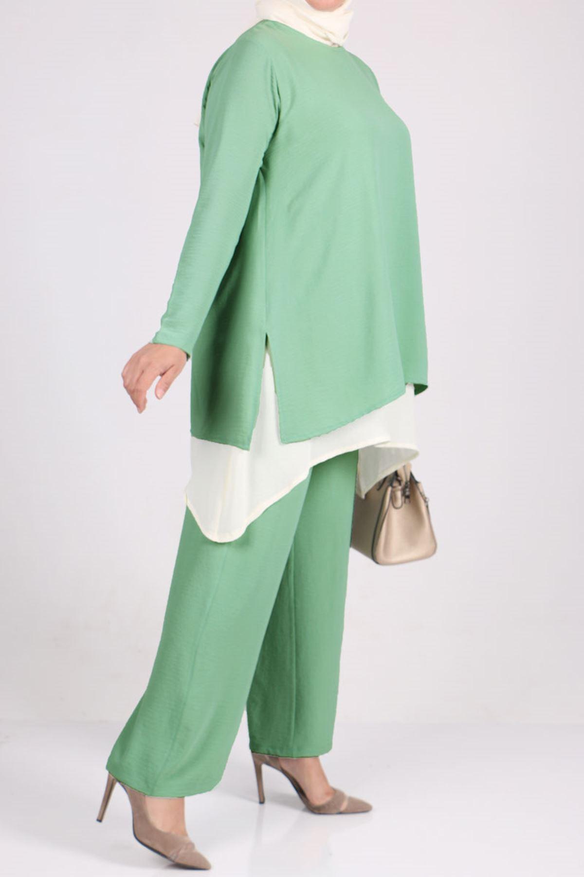 7703 Büyük Beden Airobin Çift Kat Pantolonlu Takım - Su Yeşili