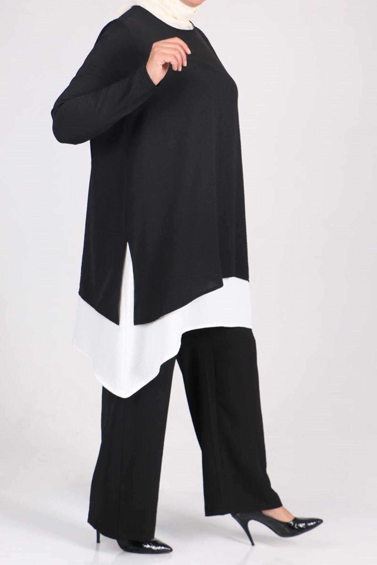 7703 Büyük Beden Airobin Çift Kat Pantolonlu Takım - Siyah