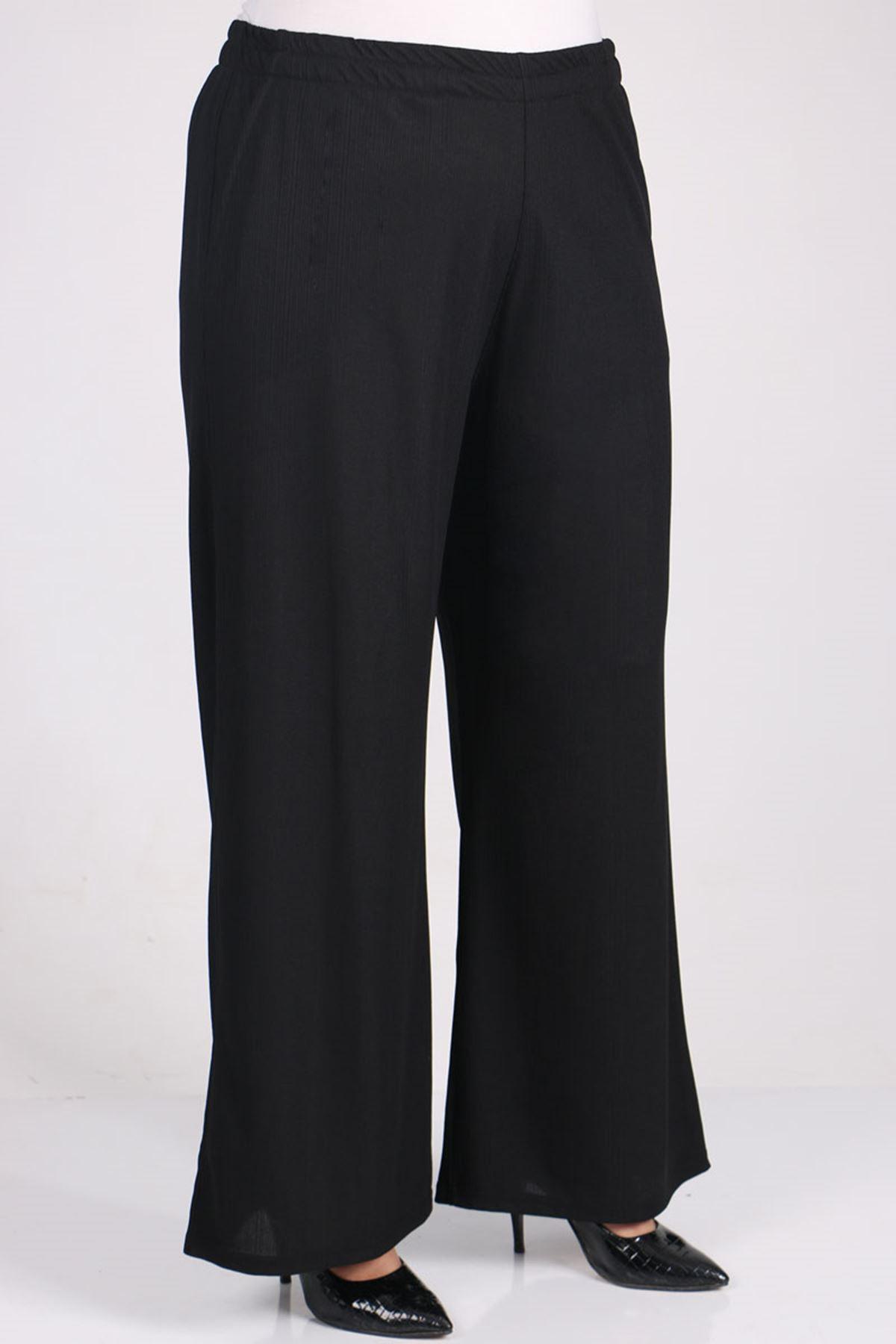 7707 Büyük Beden Örme Krep- Pantolonlu Takım - Siyah Puanlı