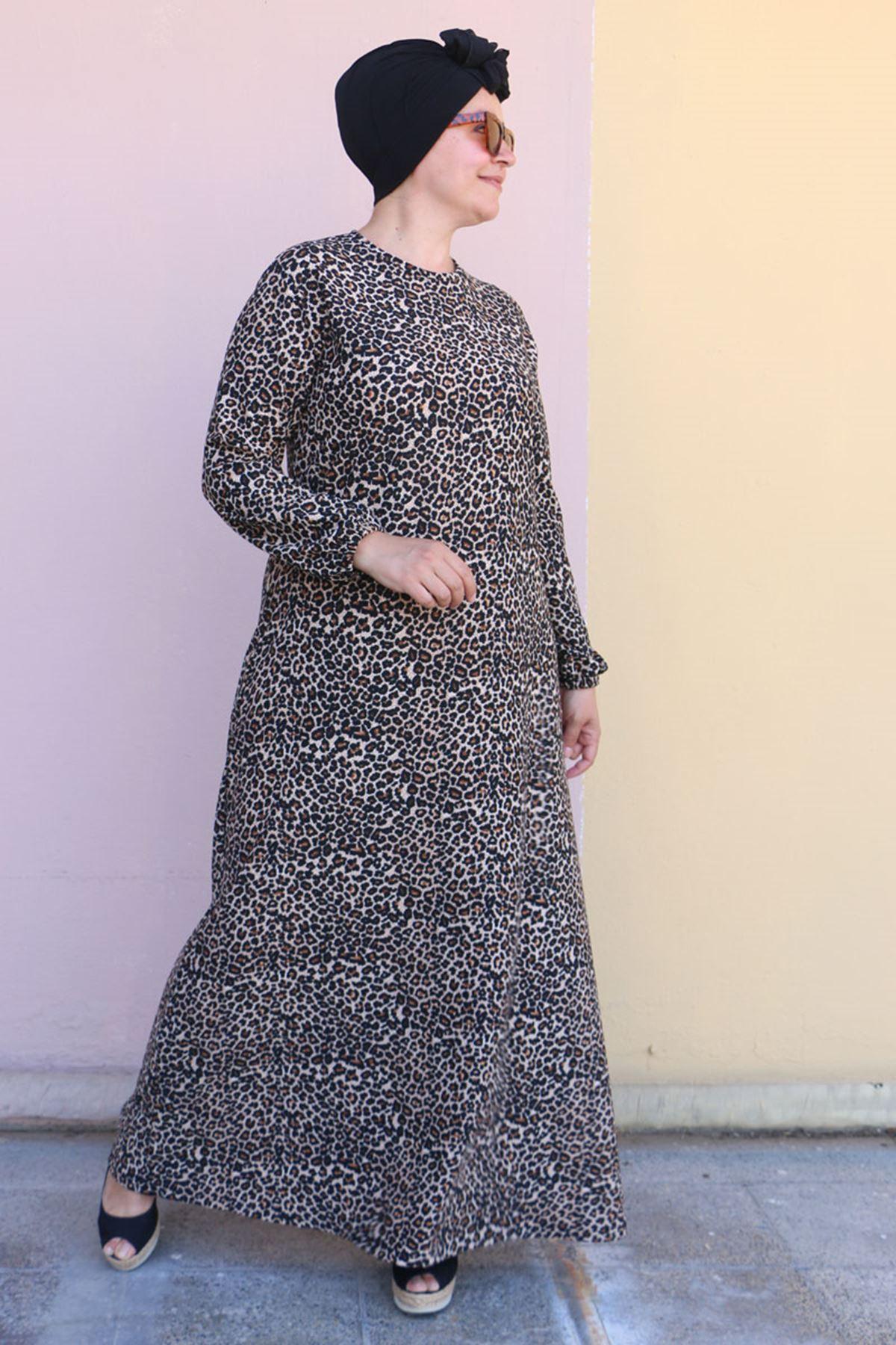 2093 Büyük Beden Örme Krep Kolu Lastikli Elbise - Siyah Leopar