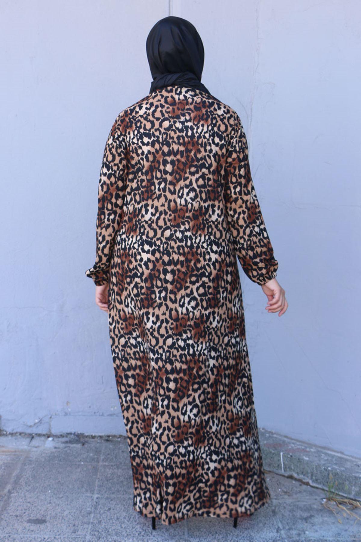 2093 Büyük Beden Örme Krep Kolu Lastikli Elbise - Kahve Leopar