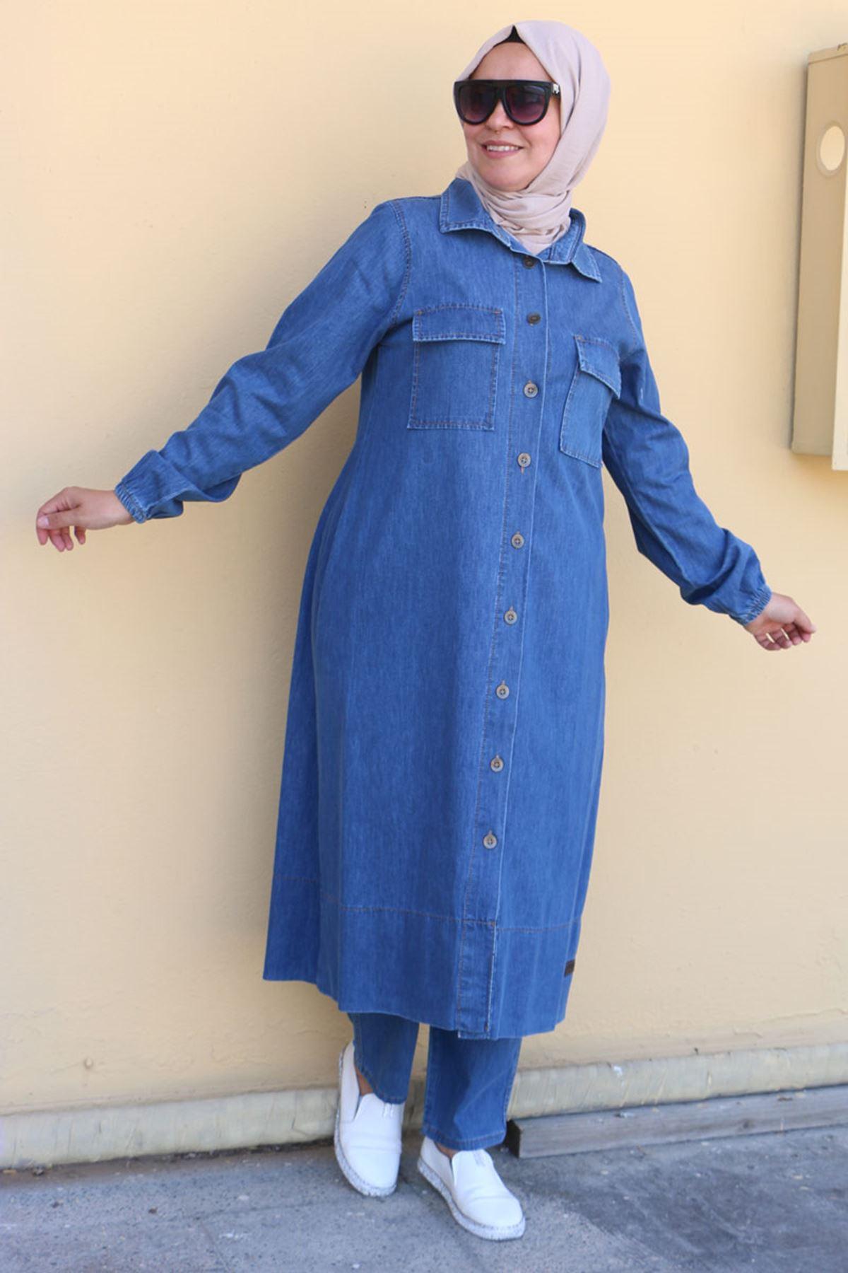 7698 Büyük Beden Pantolonlu Kot Takım - Mavi