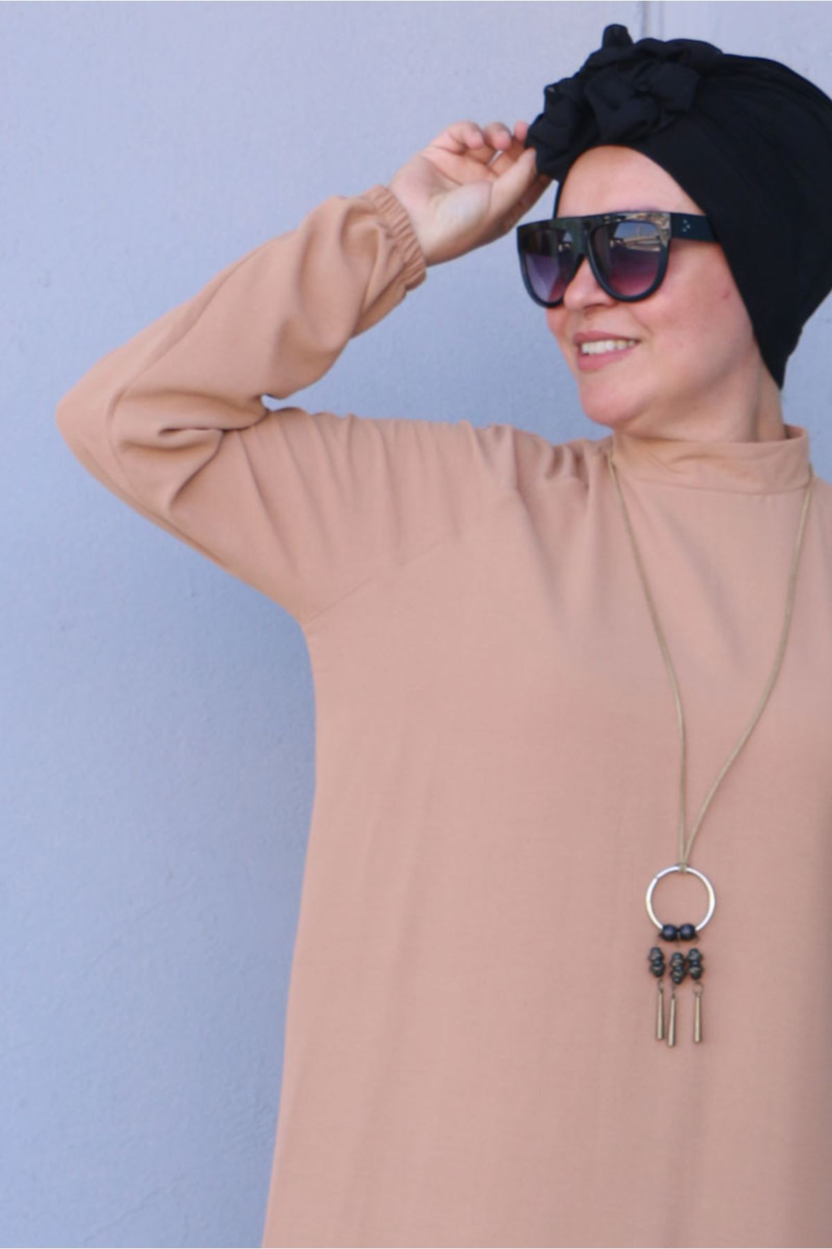 2096 Büyük Beden Airobin Elbise - Açık Vizon