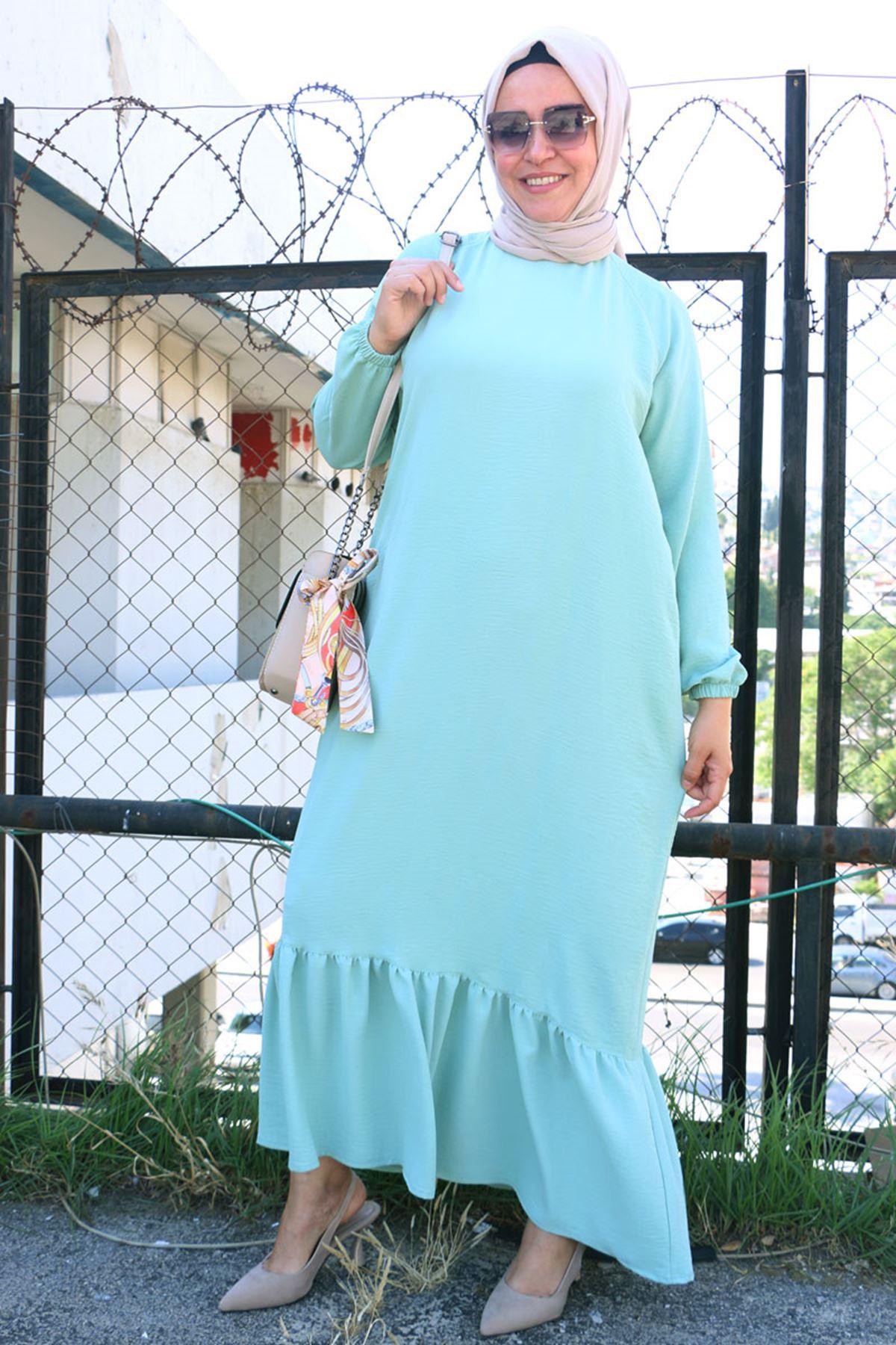 2096 Büyük Beden Airobin Elbise - Su Yeşili