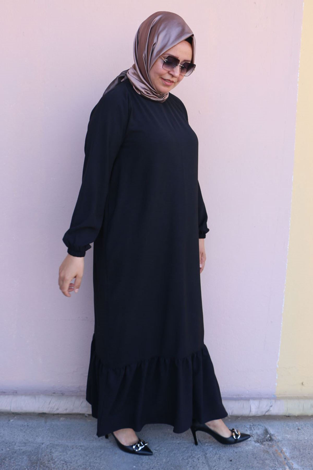 2096 فستان مقاس كبير - اسود