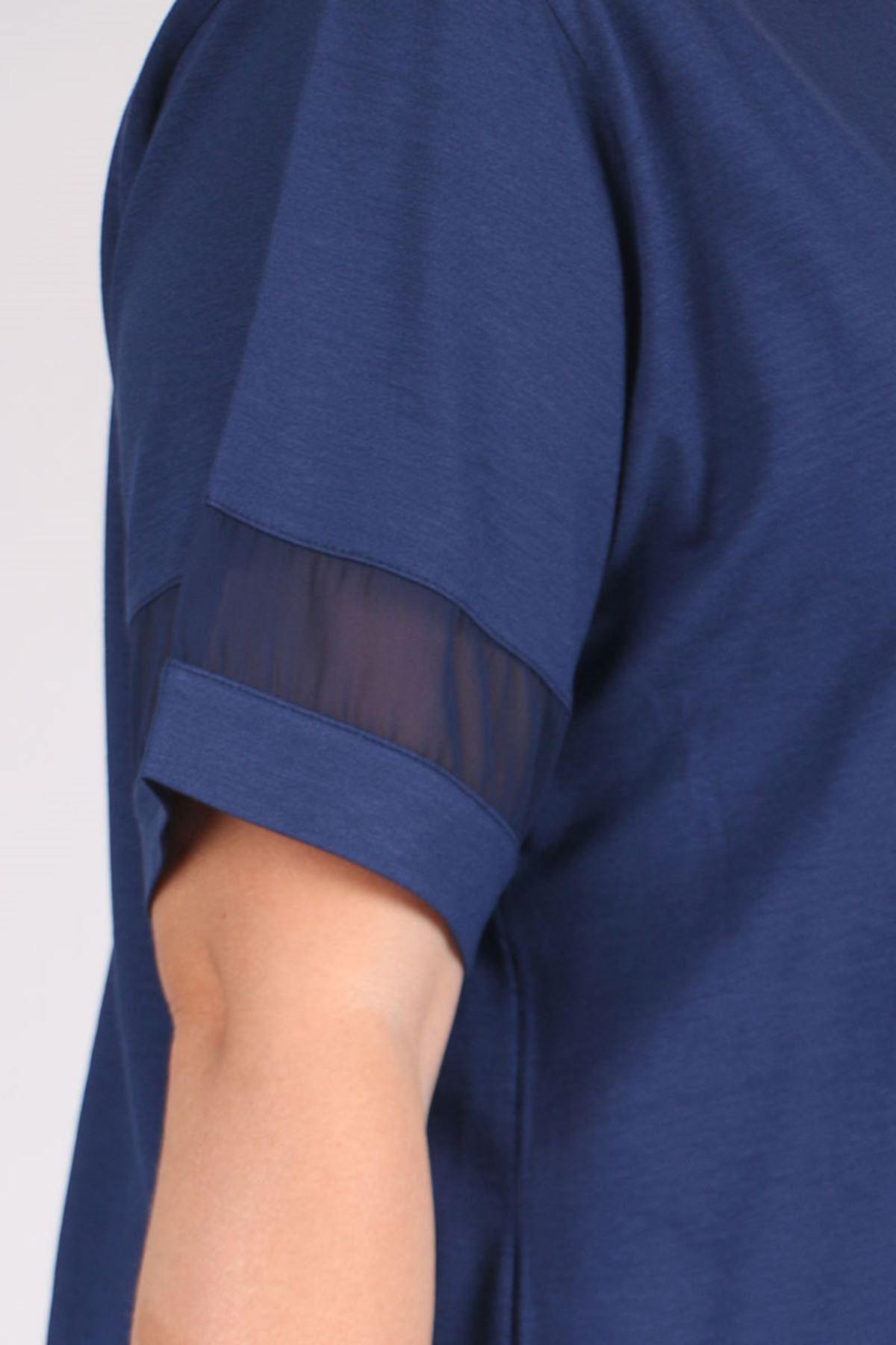8535 Büyük Beden Penye Şifon Detaylı Tişört - İndigo