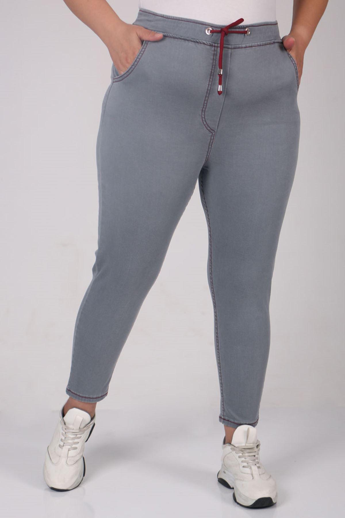 D-9136-1-1 Büyük Beden Beli Defolu Lastikli Mom Jeans Pantolon - Bordo-Gri