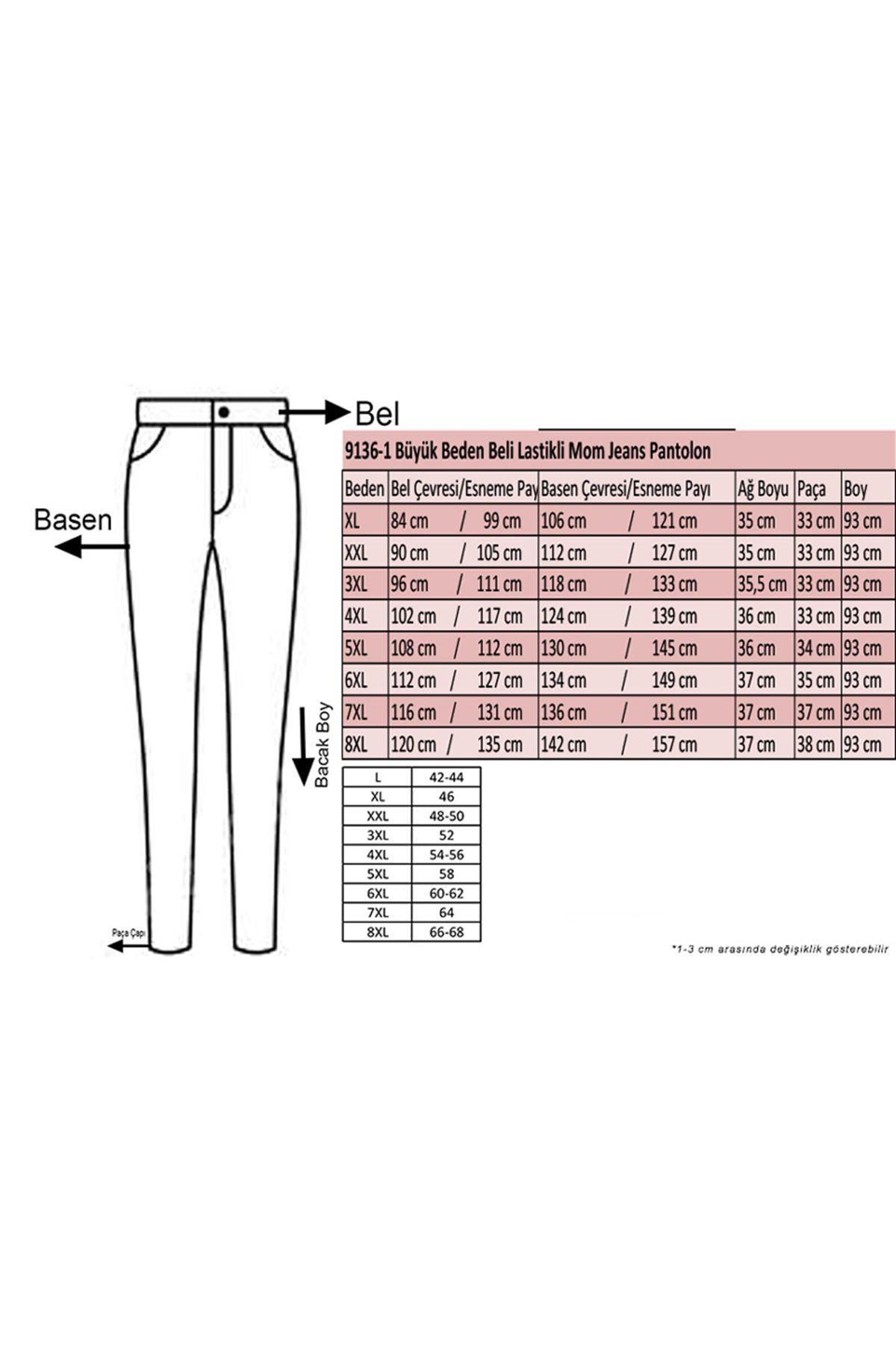 D-9136-1 Büyük Beden Defolu Beli Lastikli Mom Jeans Pantolon - Bordo-Antrasit