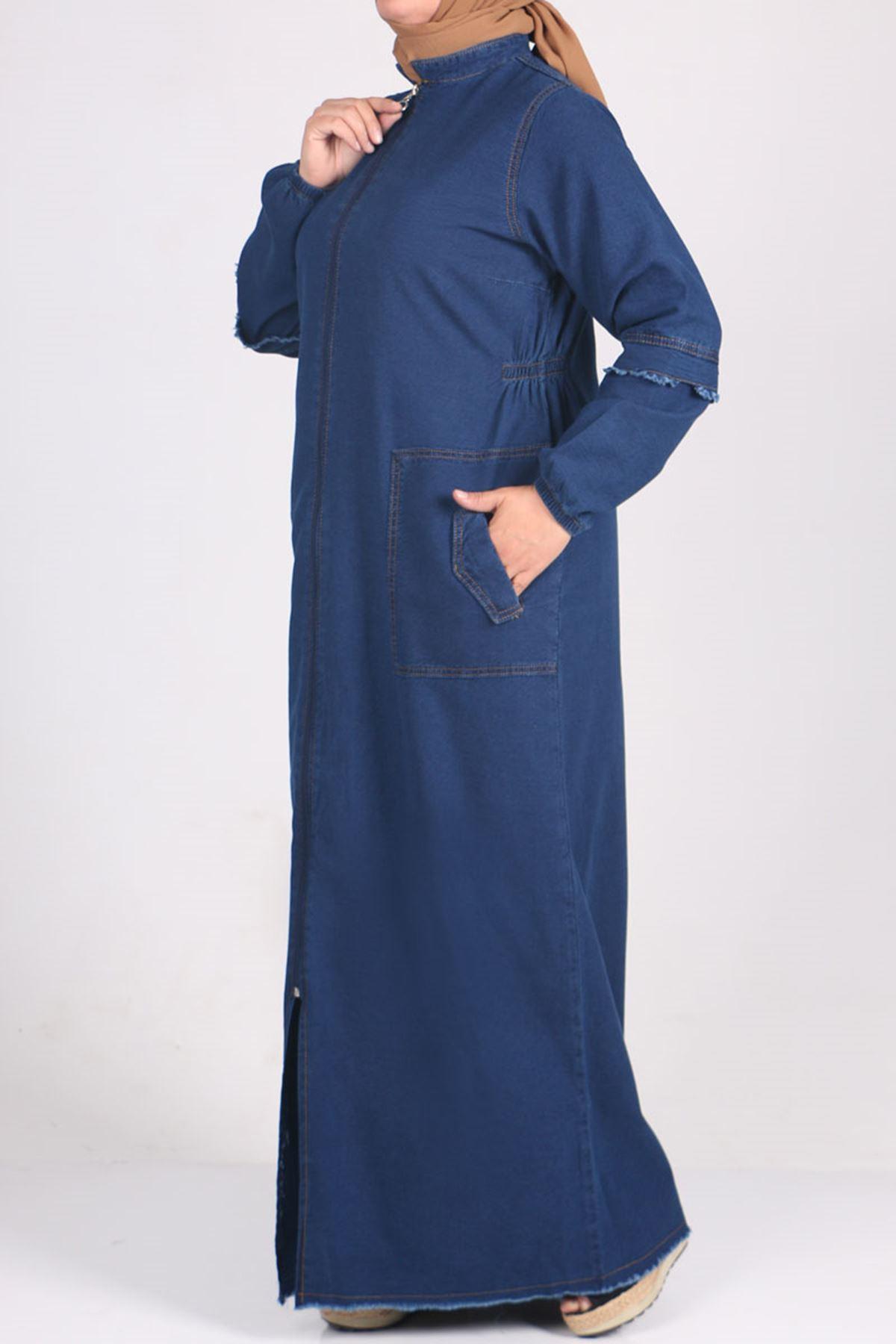 6043 Büyük Beden Fermuarlı ve Altı Püsküllü Kot Ferace - Koyu Mavi