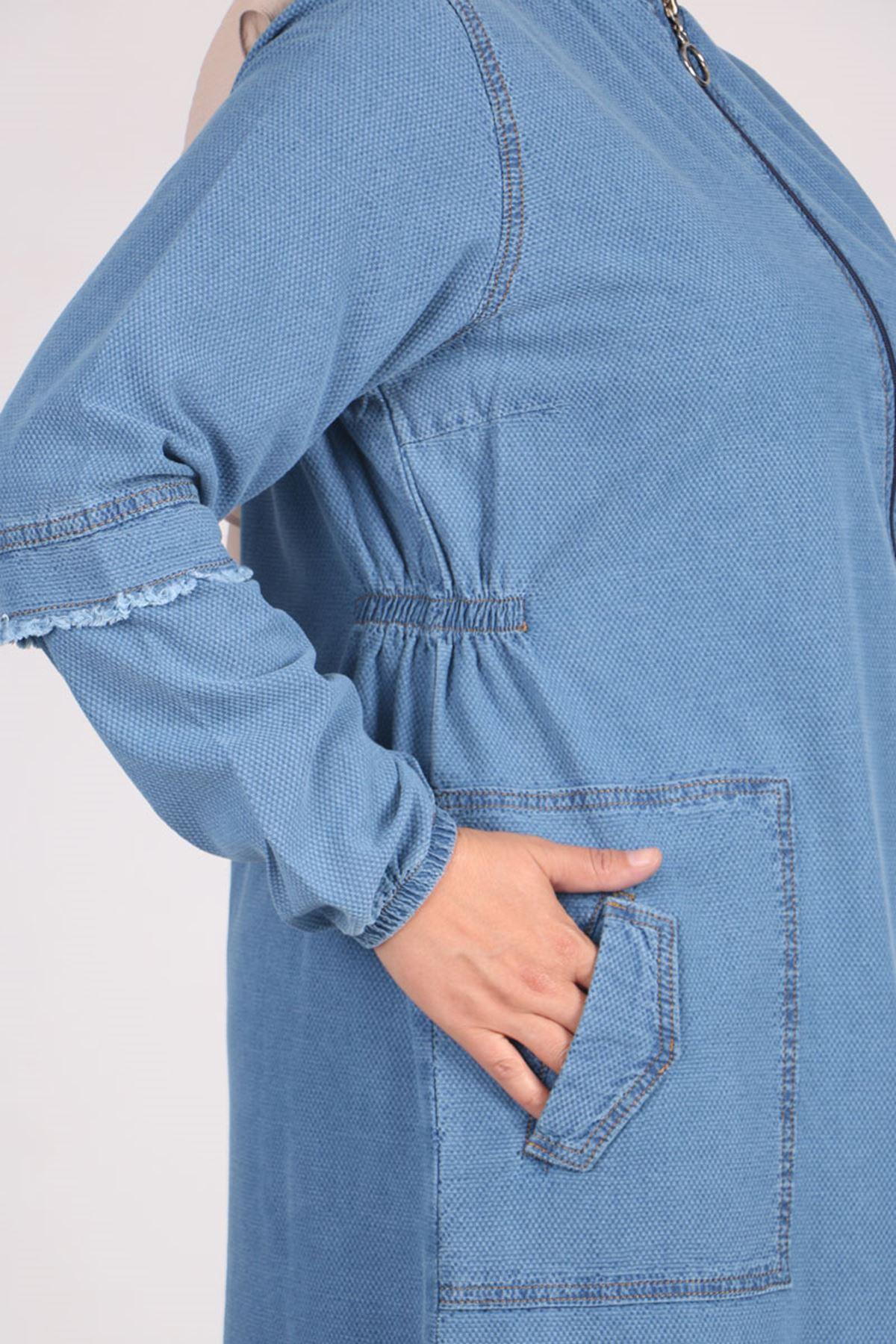 6043 عباية جينز بسحاب مقاس كبير - أزرق