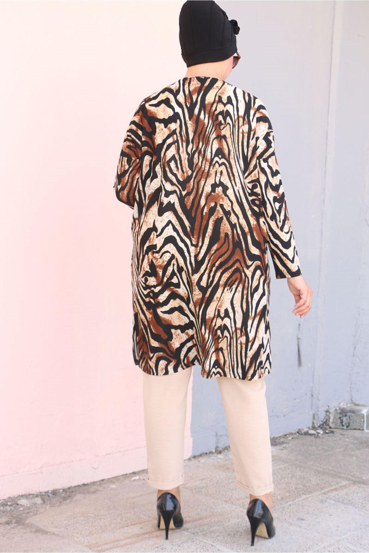 8473 Büyük Beden Örme Krep Tunik - Zebra Desen