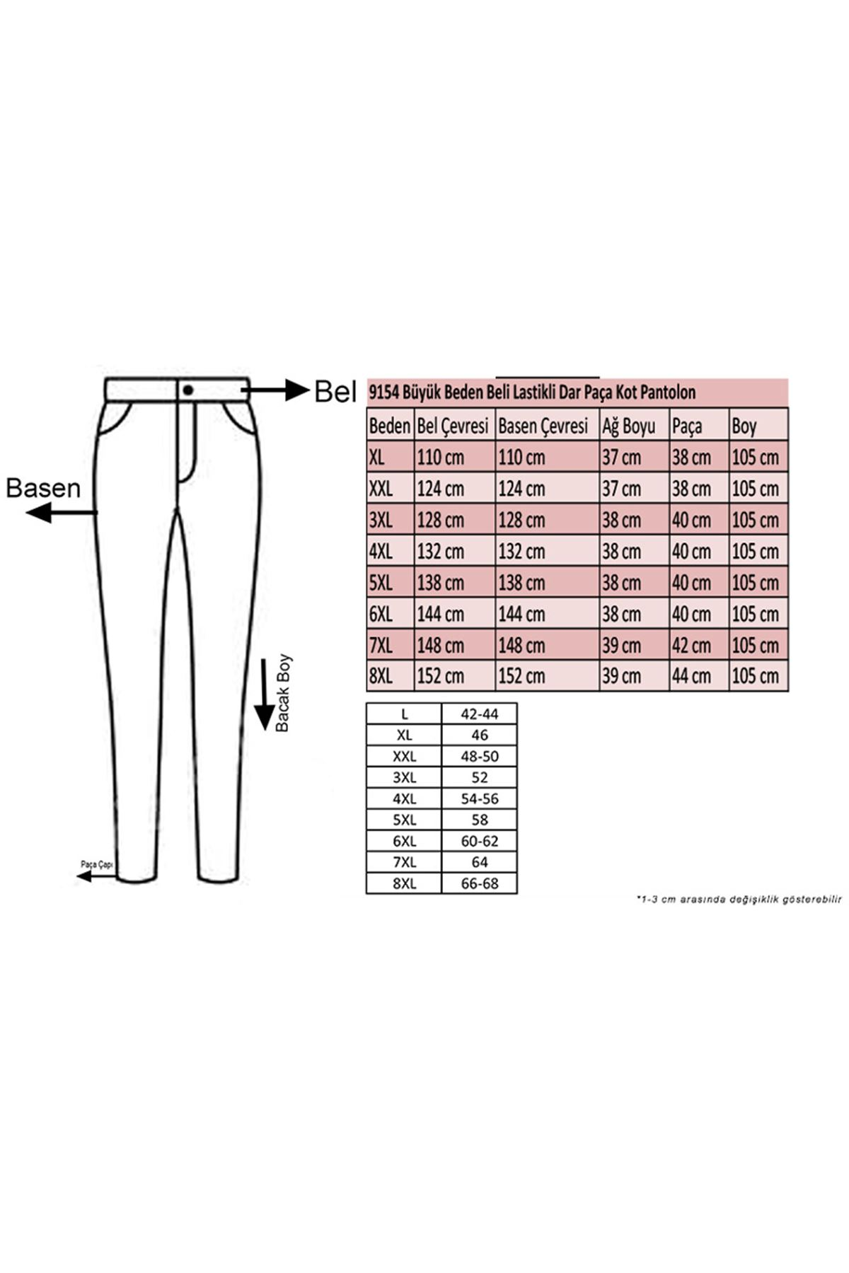 9154-1 Büyük Beden Dar Paça Kot Pantolon - Lacivert