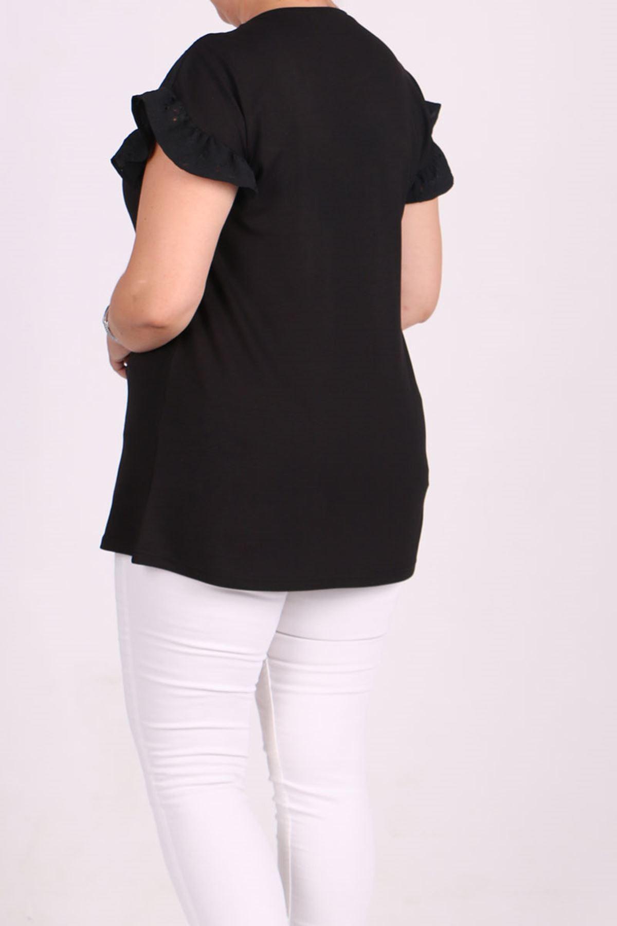 8536 Büyük Beden Penye Nakış Detaylı Tişört - Siyah