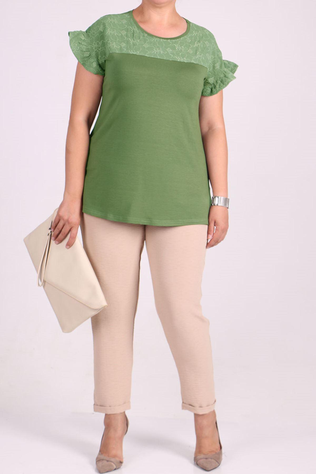 8536 Büyük Beden Penye Nakış Detaylı Tişört - Yeşil