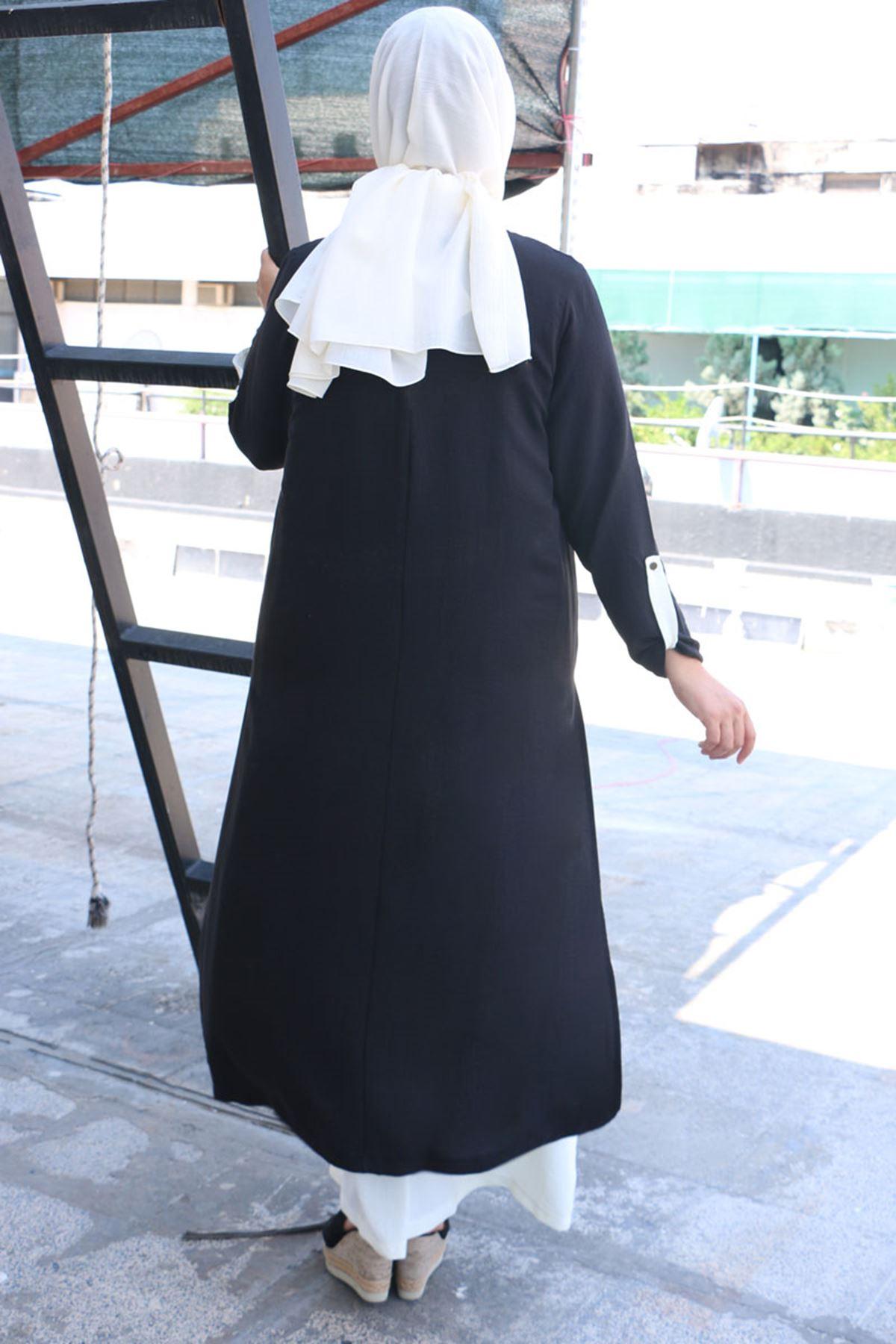 2088 فستان مقاس كبير بتصميم طبقتين- أسود