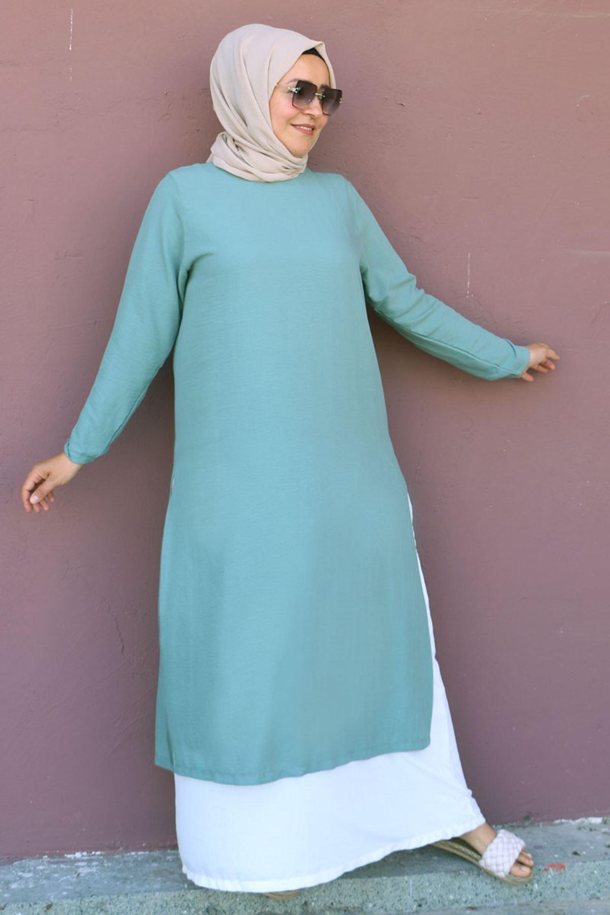 2088 فستان مقاس كبير بتصميم طبقتين - اخضر نفطي