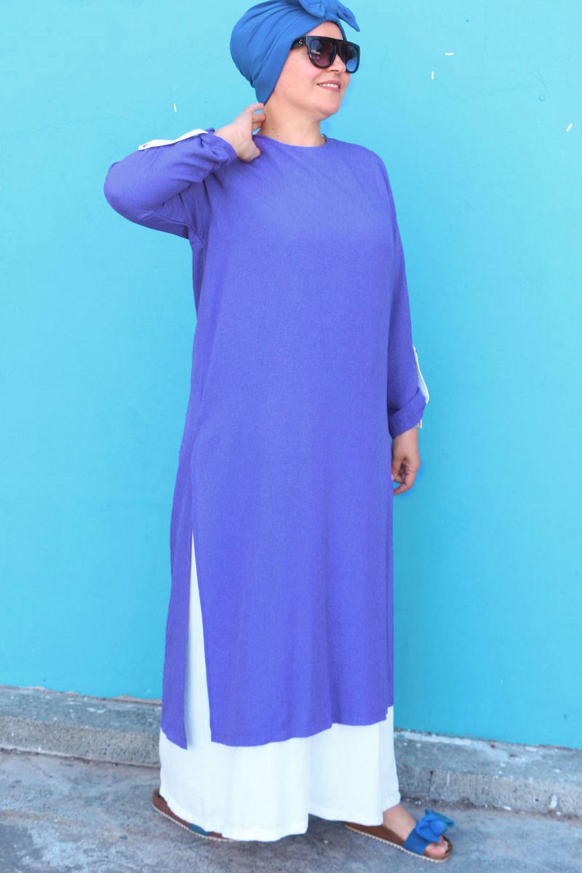 2088 Büyük Beden Mucize Çift Kat Elbise - İndigo