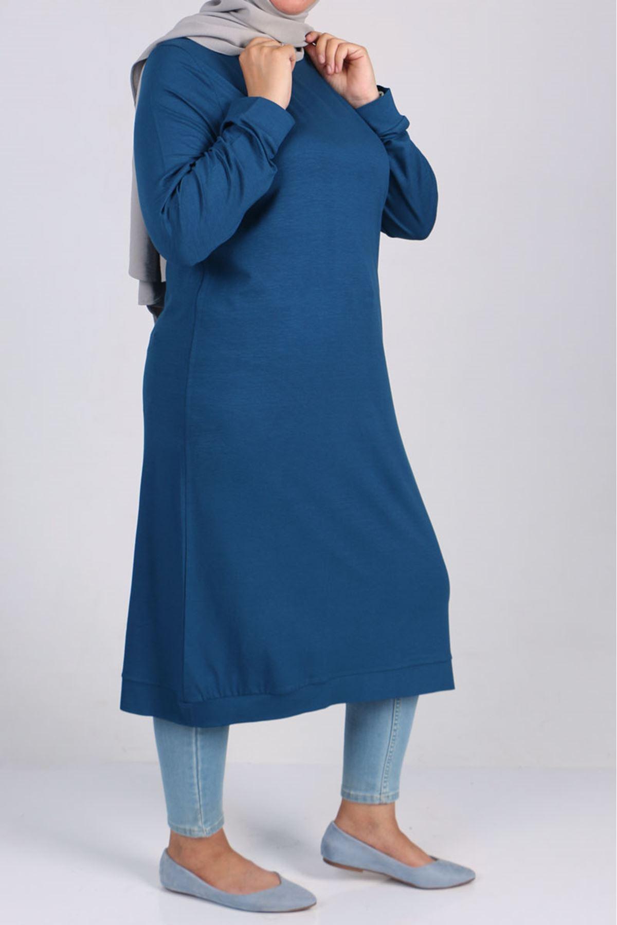 8468 تونيك مقاس كبير - لون ازرق بترولي