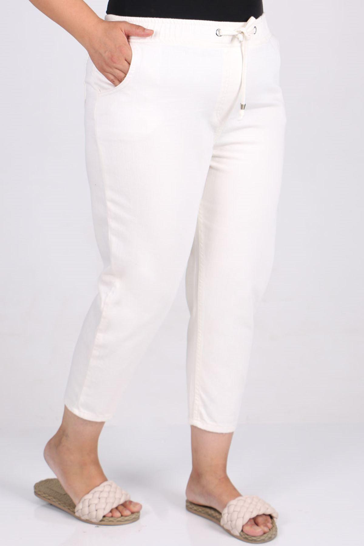 9166 Büyük Beden Beli Lastikli Mom Jeans Pantolon - Beyaz
